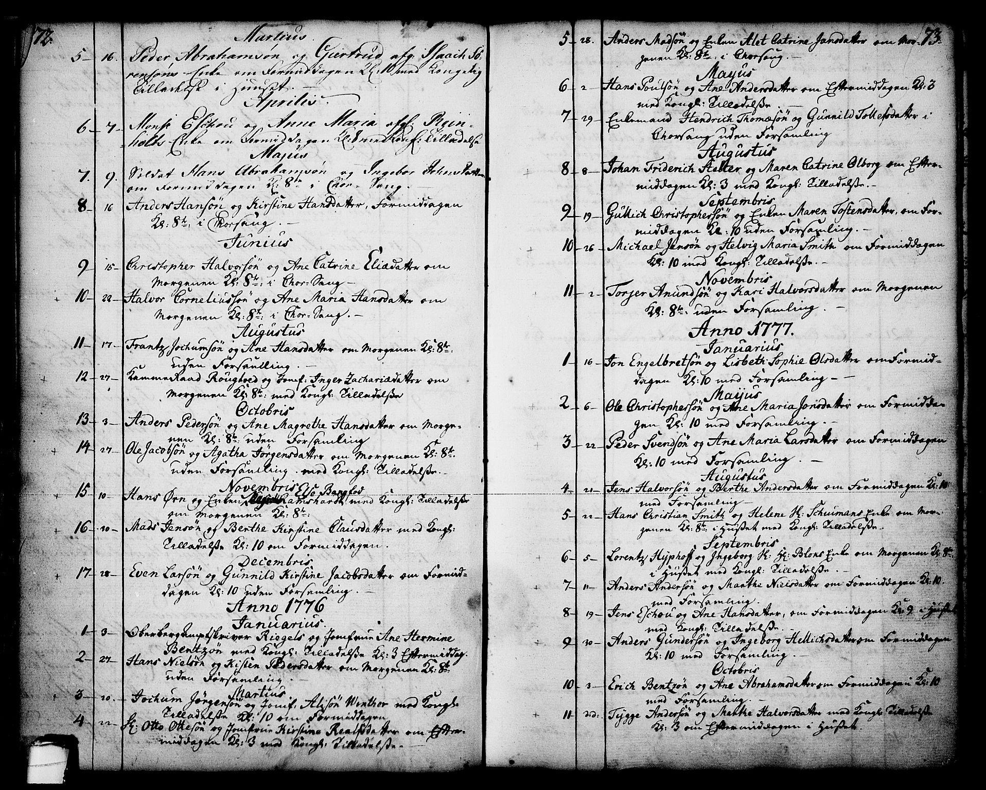 SAKO, Skien kirkebøker, F/Fa/L0003: Ministerialbok nr. 3, 1755-1791, s. 72-73