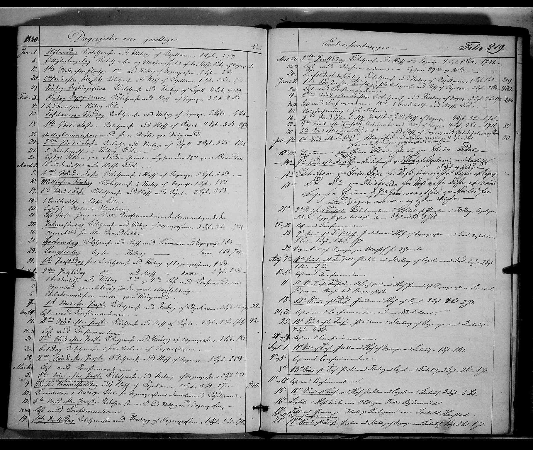 SAH, Land prestekontor, Ministerialbok nr. 9, 1847-1859, s. 219