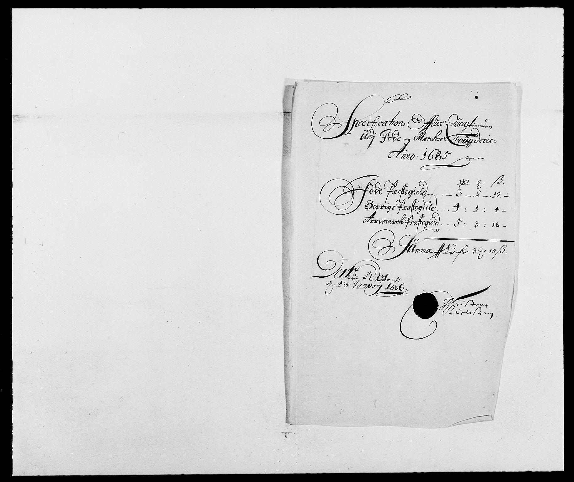 RA, Rentekammeret inntil 1814, Reviderte regnskaper, Fogderegnskap, R01/L0006: Fogderegnskap Idd og Marker, 1685-1686, s. 64