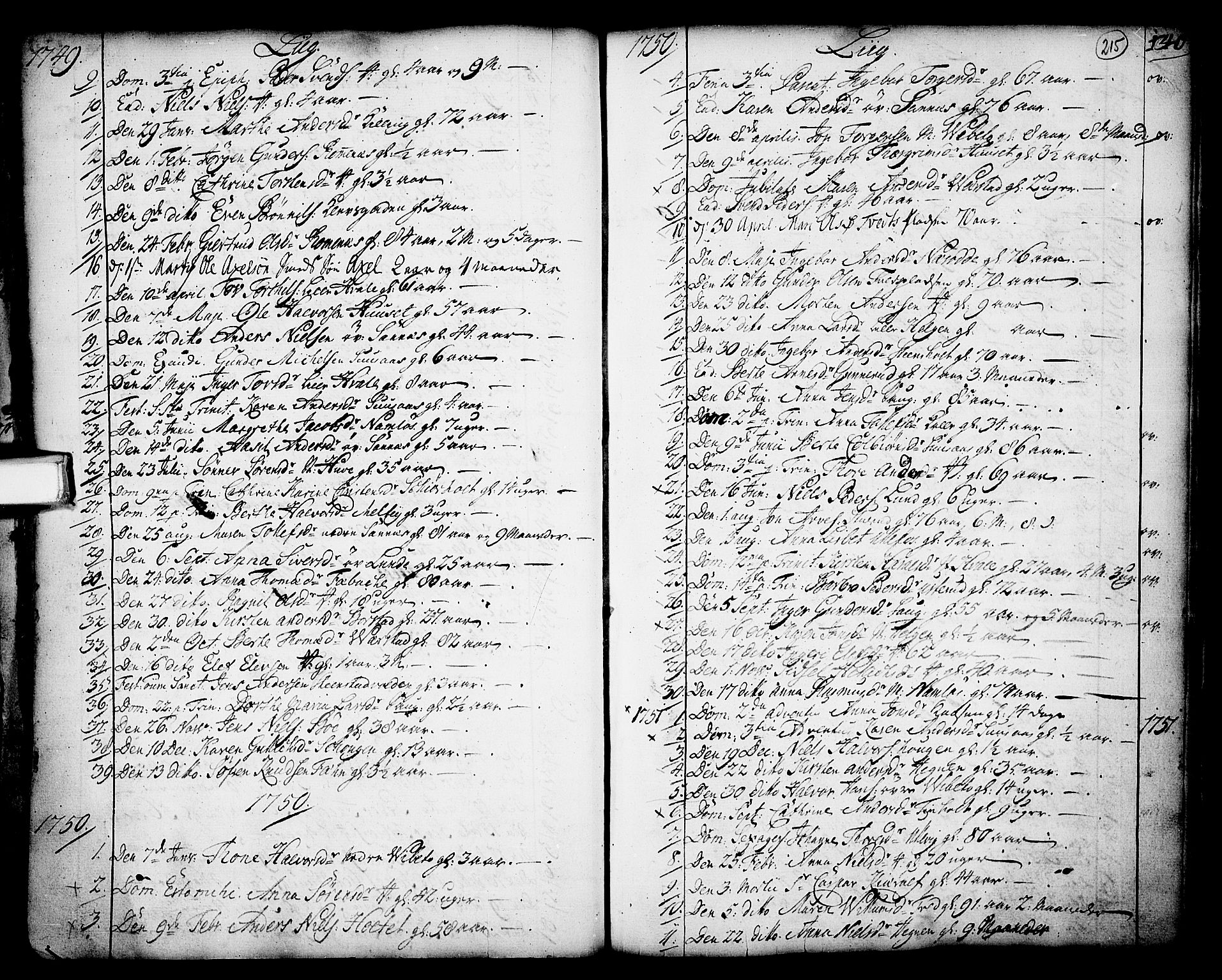 SAKO, Holla kirkebøker, F/Fa/L0001: Ministerialbok nr. 1, 1717-1779, s. 215