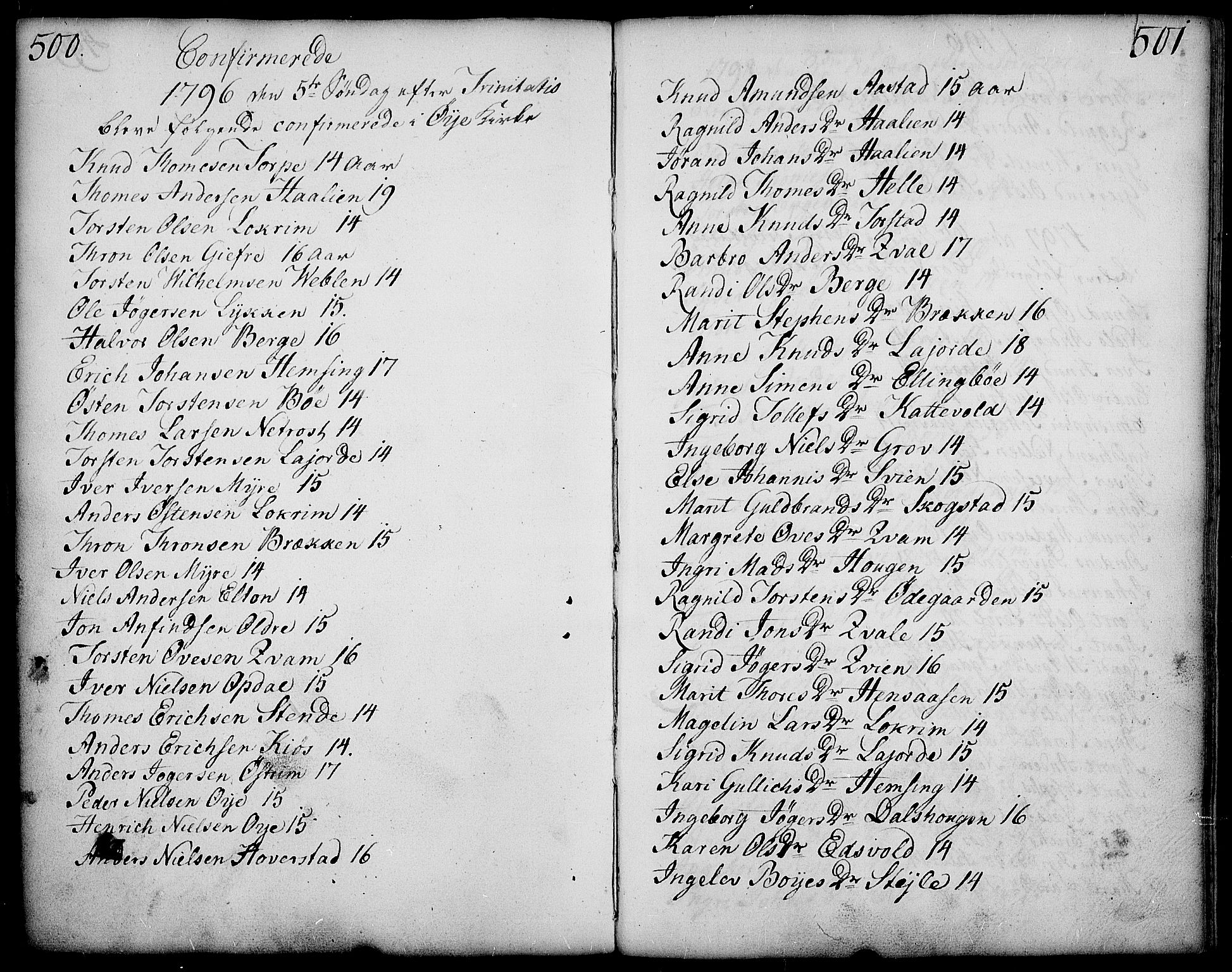 SAH, Vang prestekontor, Valdres, Ministerialbok nr. 2, 1796-1808, s. 500-501