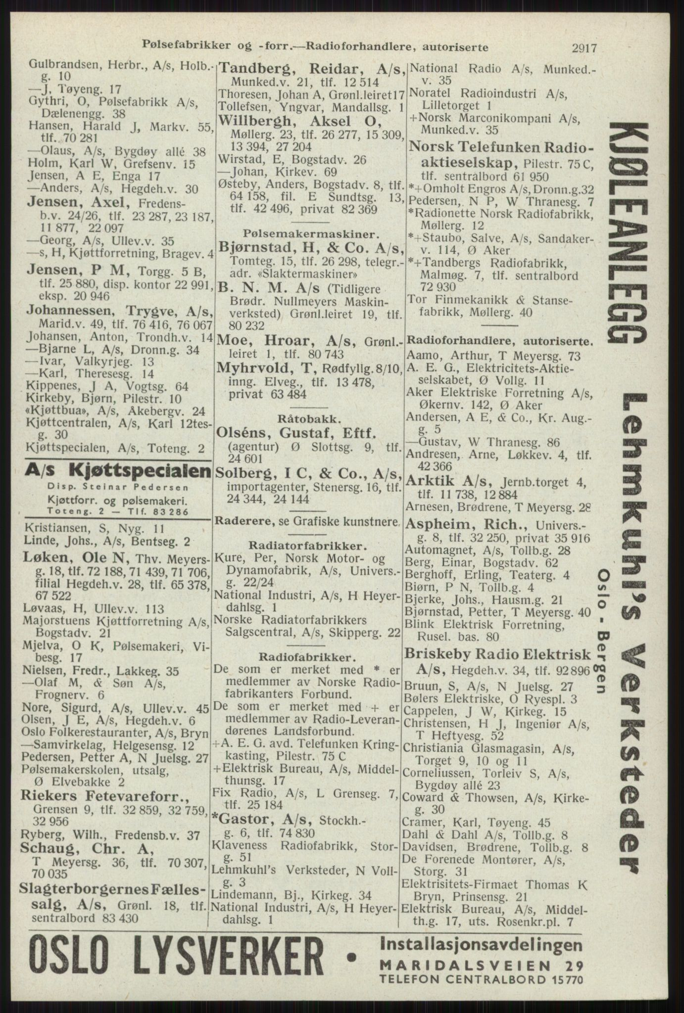 RA, Oslo adressebok (publikasjon)*, 1941, s. 2917