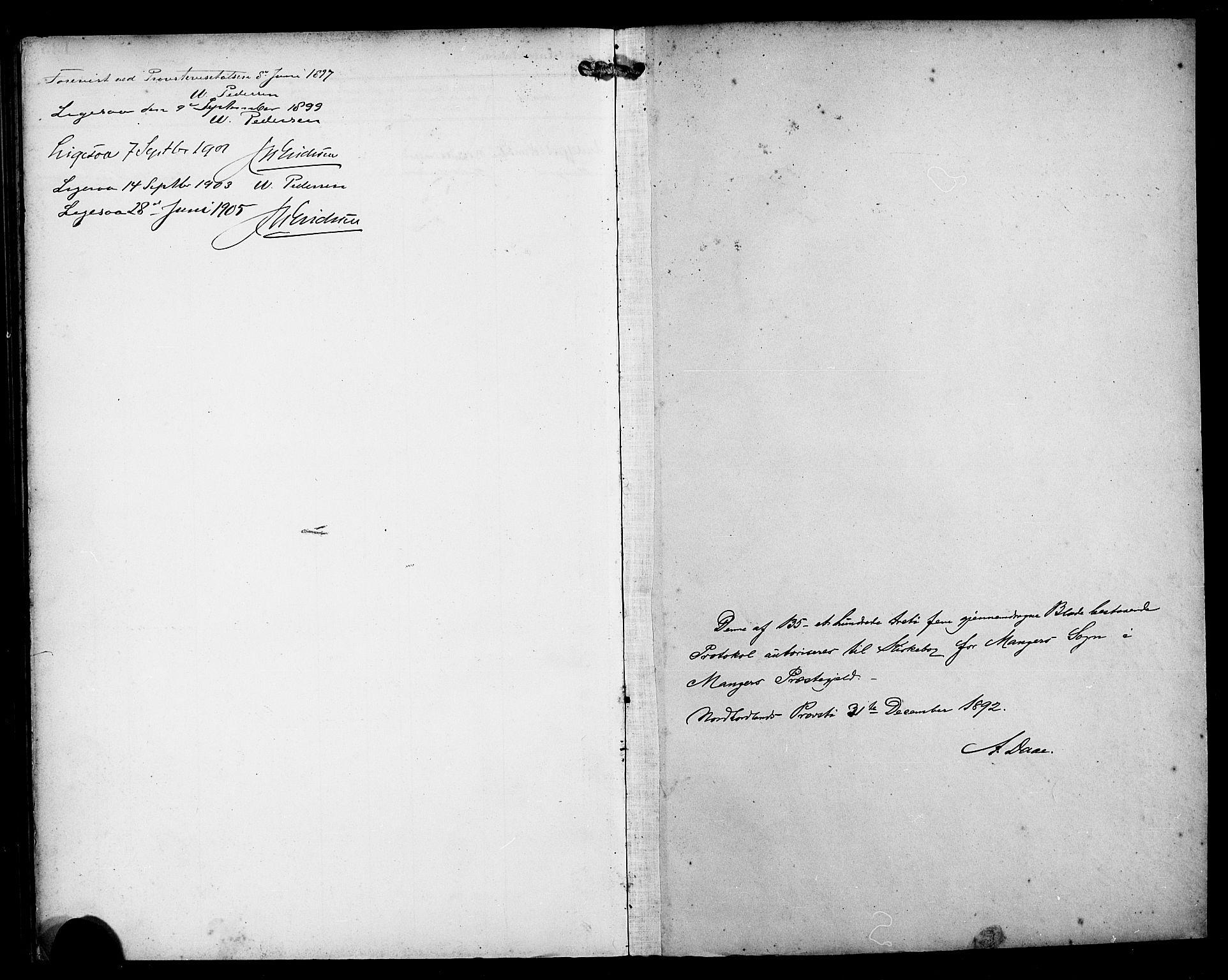 SAB, Manger sokneprestembete, H/Haa: Ministerialbok nr. B 2, 1893-1906