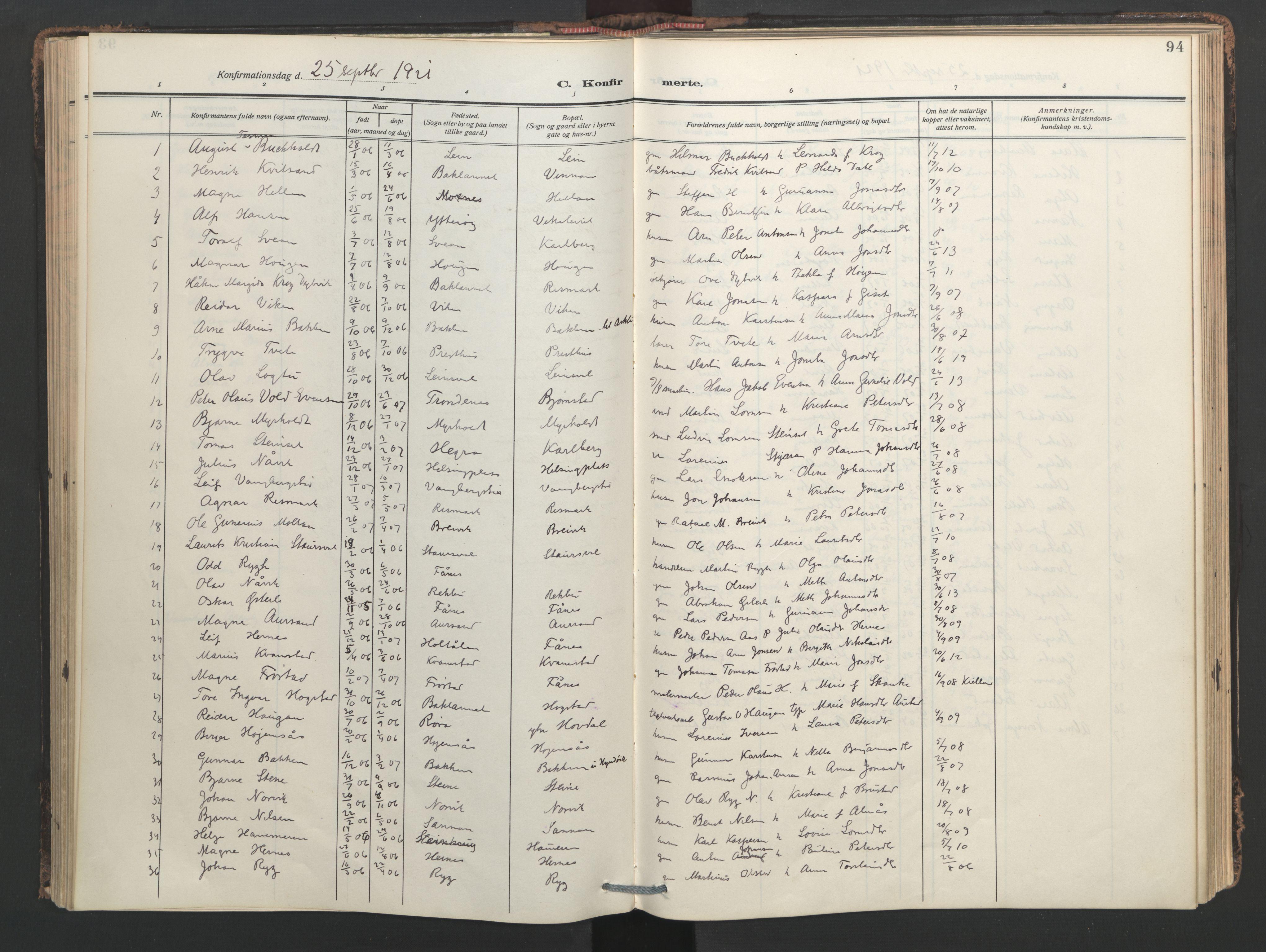 SAT, Ministerialprotokoller, klokkerbøker og fødselsregistre - Nord-Trøndelag, 713/L0123: Ministerialbok nr. 713A12, 1911-1925, s. 94