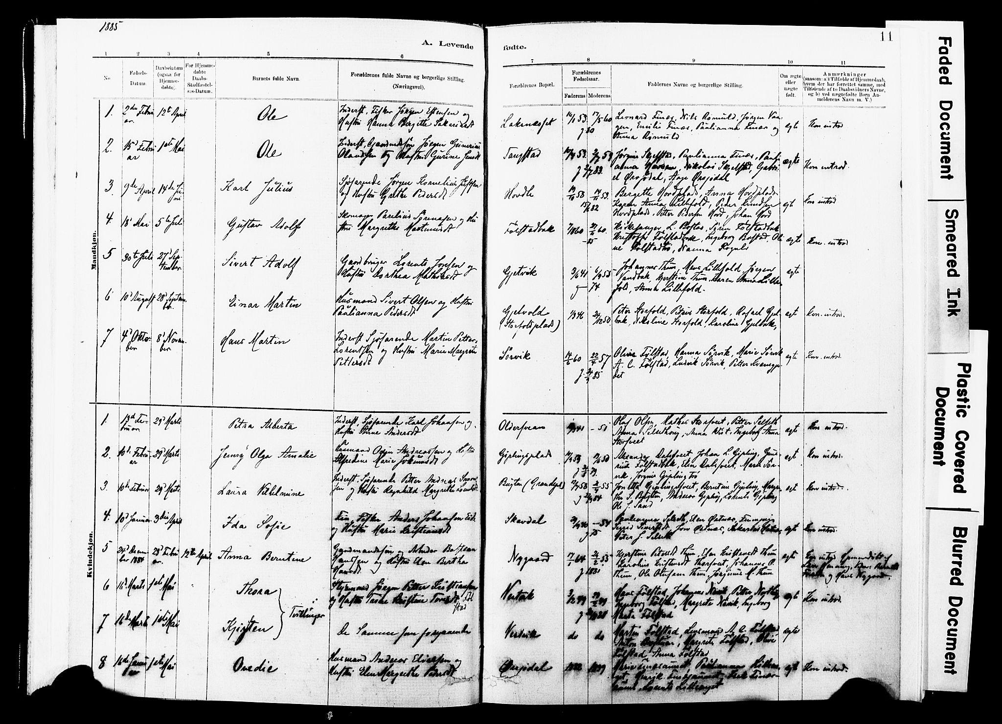 SAT, Ministerialprotokoller, klokkerbøker og fødselsregistre - Nord-Trøndelag, 744/L0420: Ministerialbok nr. 744A04, 1882-1904, s. 11