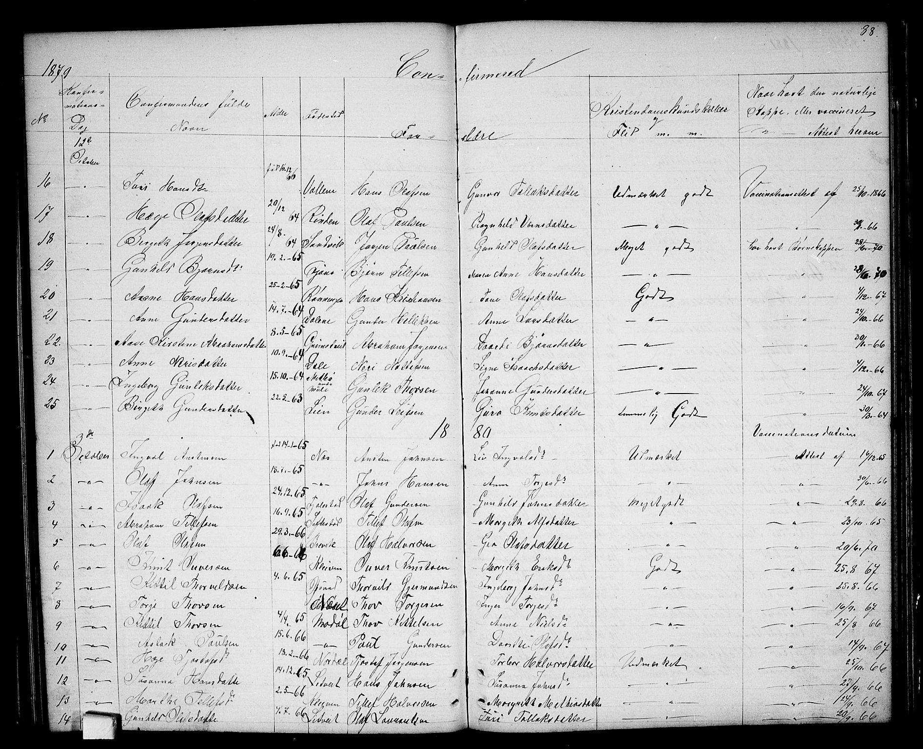 SAKO, Nissedal kirkebøker, G/Ga/L0002: Klokkerbok nr. I 2, 1861-1887, s. 88