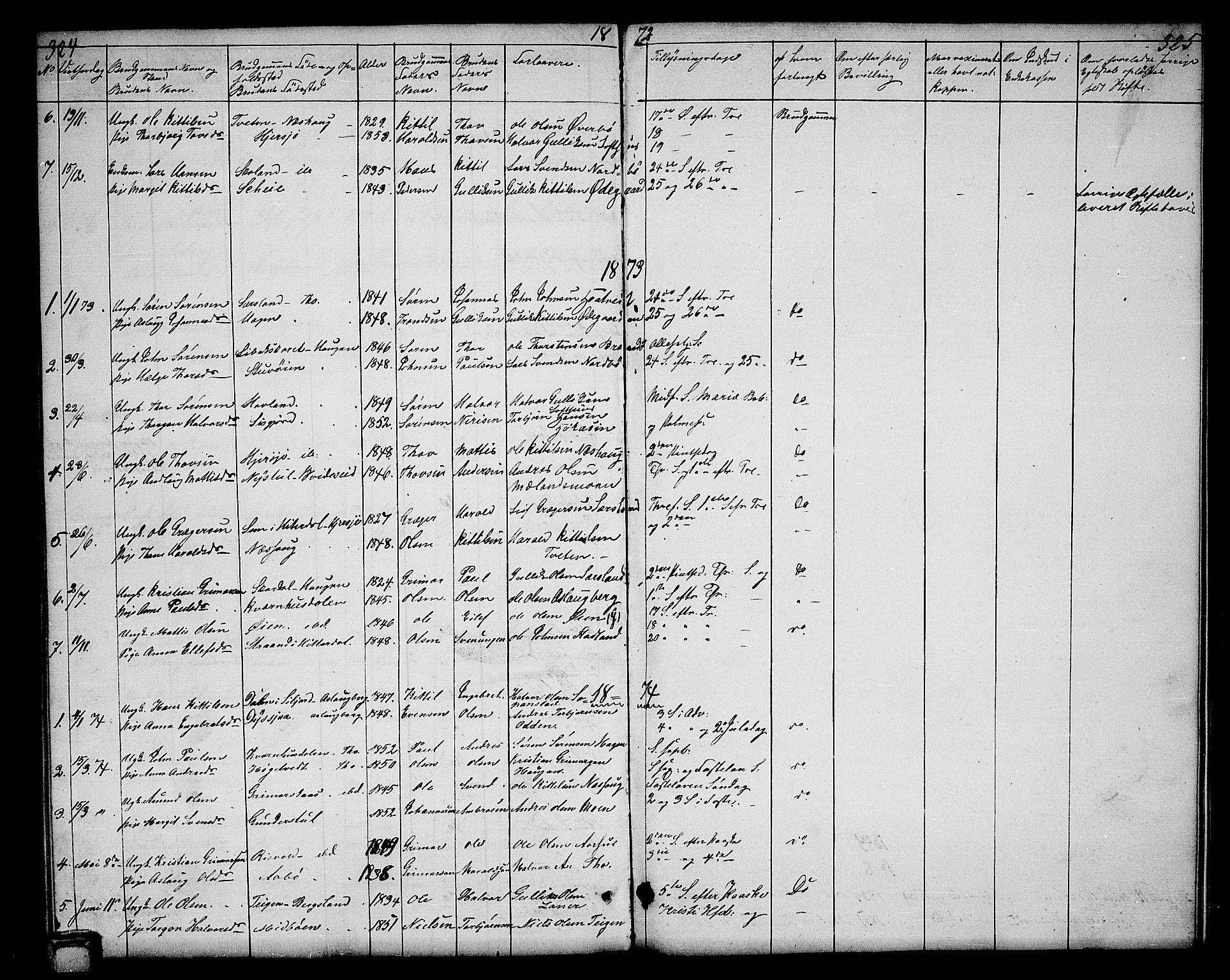 SAKO, Hjartdal kirkebøker, G/Ga/L0002: Klokkerbok nr. I 2, 1854-1888, s. 324-325