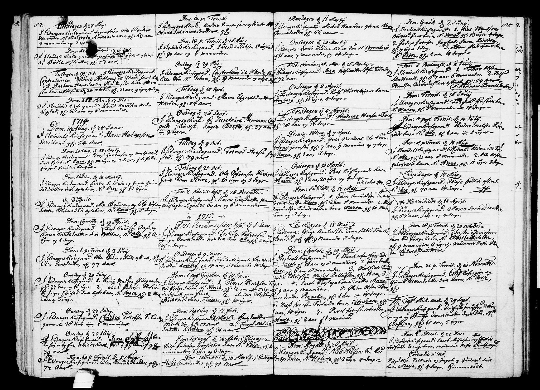 SAKO, Eidanger kirkebøker, F/Fa/L0002: Ministerialbok nr. 2, 1712-1720, s. 84-85
