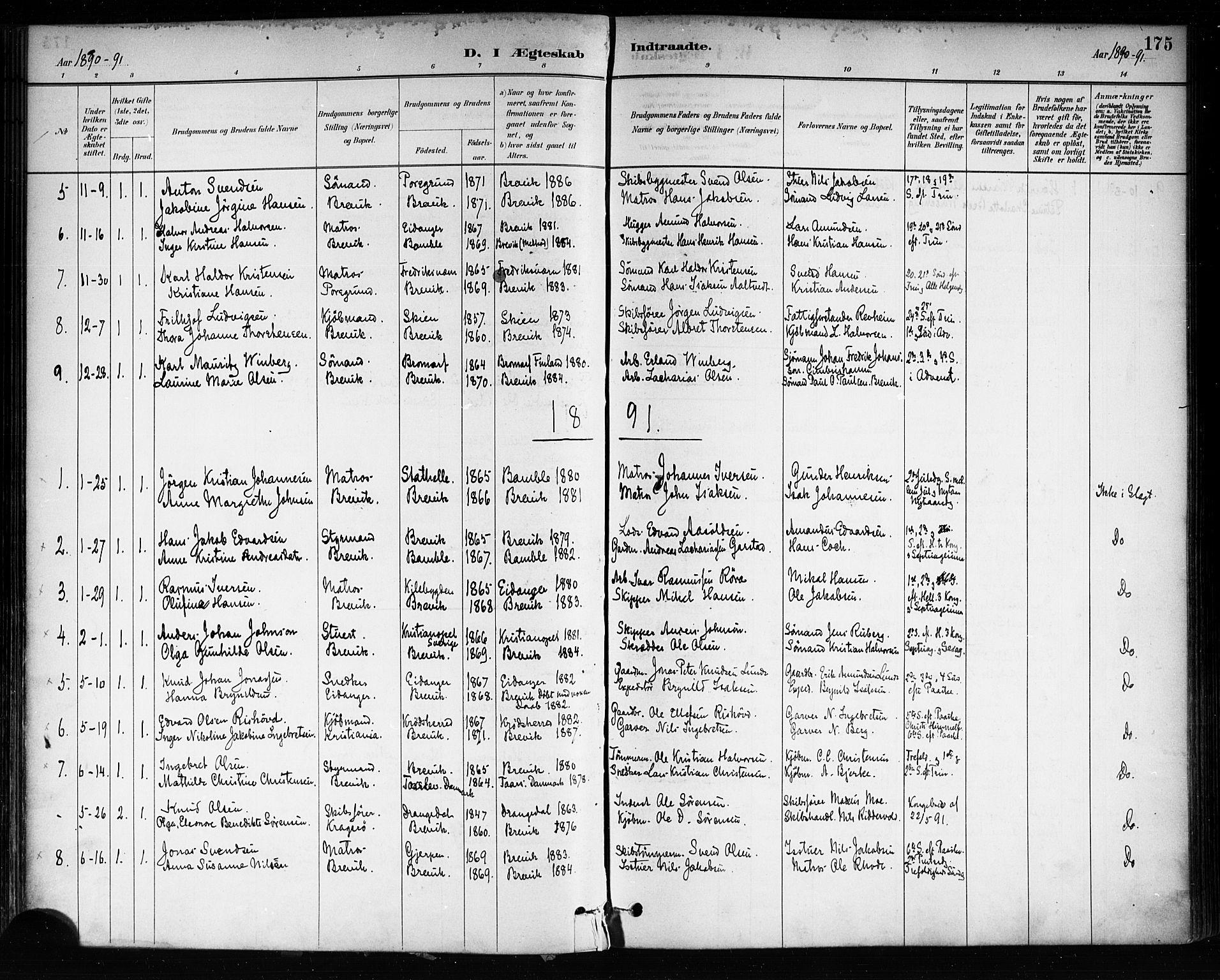 SAKO, Brevik kirkebøker, F/Fa/L0007: Ministerialbok nr. 7, 1882-1900, s. 175
