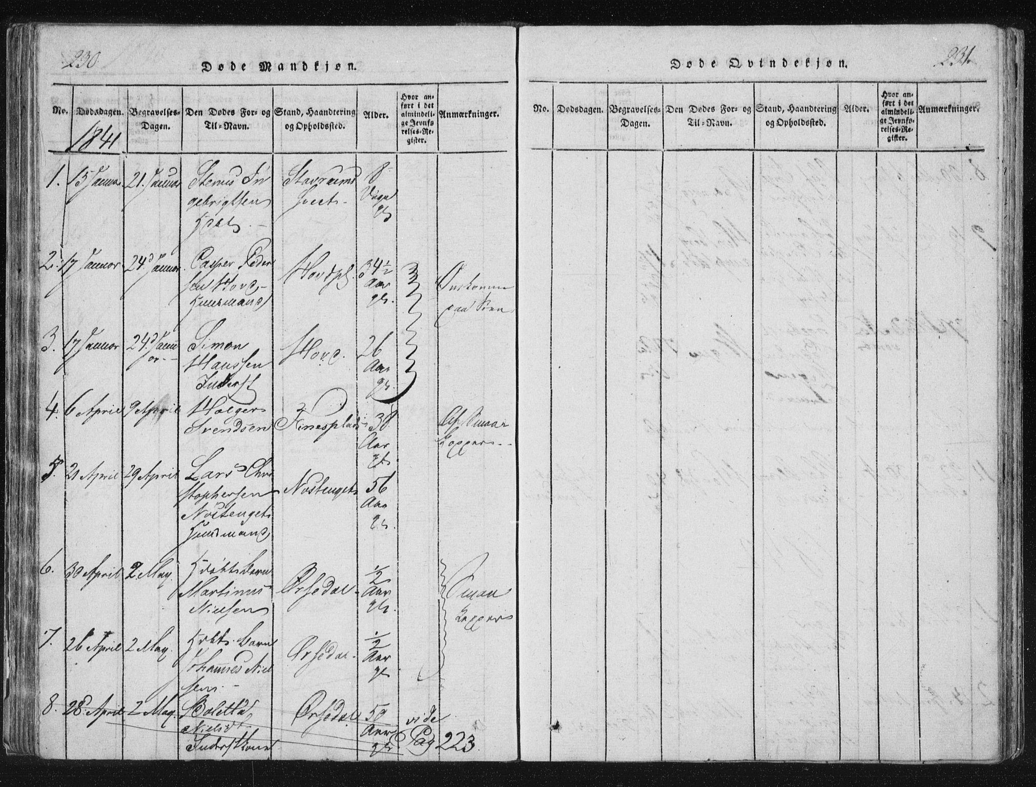 SAT, Ministerialprotokoller, klokkerbøker og fødselsregistre - Nord-Trøndelag, 744/L0417: Ministerialbok nr. 744A01, 1817-1842, s. 230-231