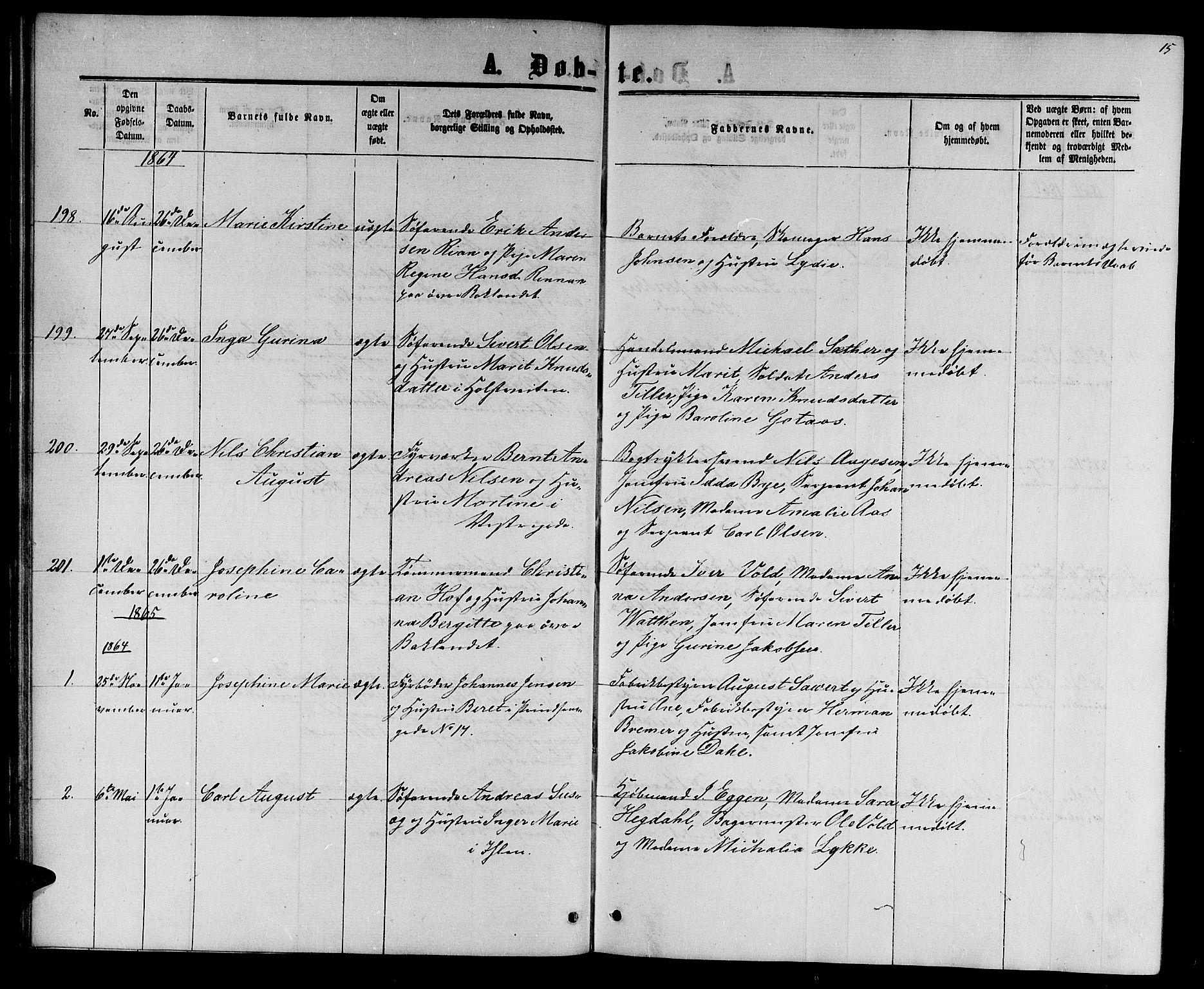 SAT, Ministerialprotokoller, klokkerbøker og fødselsregistre - Sør-Trøndelag, 601/L0087: Klokkerbok nr. 601C05, 1864-1881, s. 15
