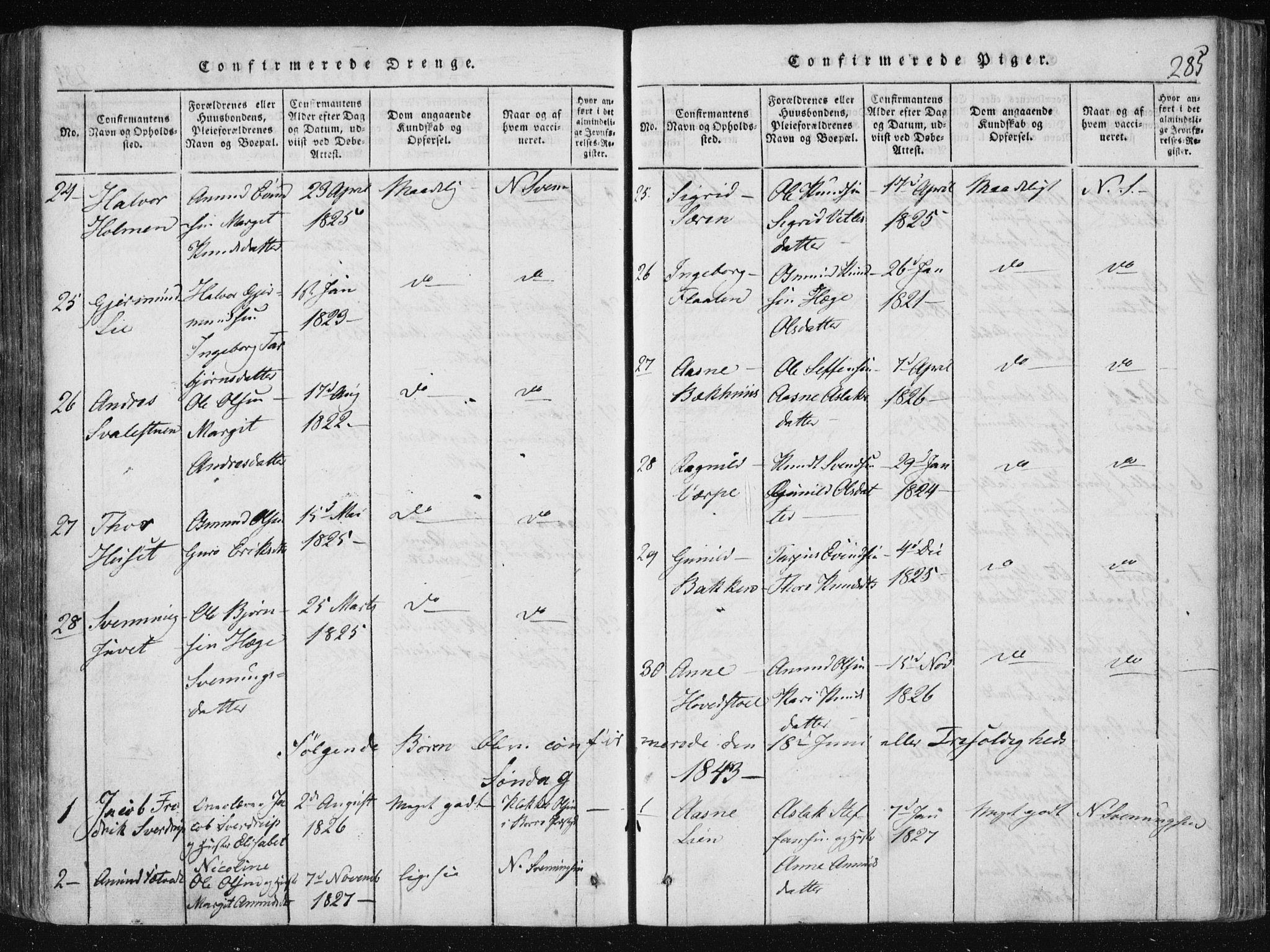 SAKO, Vinje kirkebøker, F/Fa/L0003: Ministerialbok nr. I 3, 1814-1843, s. 285