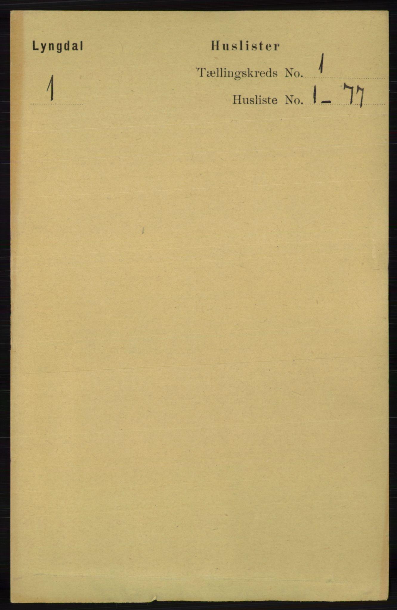 RA, Folketelling 1891 for 1032 Lyngdal herred, 1891, s. 40