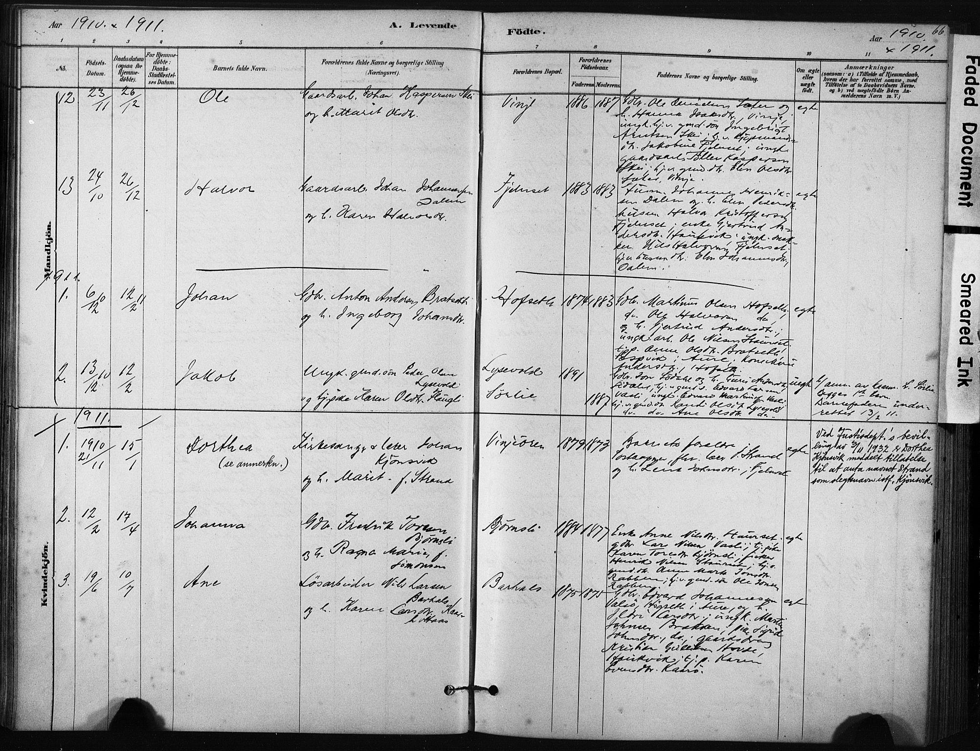 SAT, Ministerialprotokoller, klokkerbøker og fødselsregistre - Sør-Trøndelag, 631/L0512: Ministerialbok nr. 631A01, 1879-1912, s. 66
