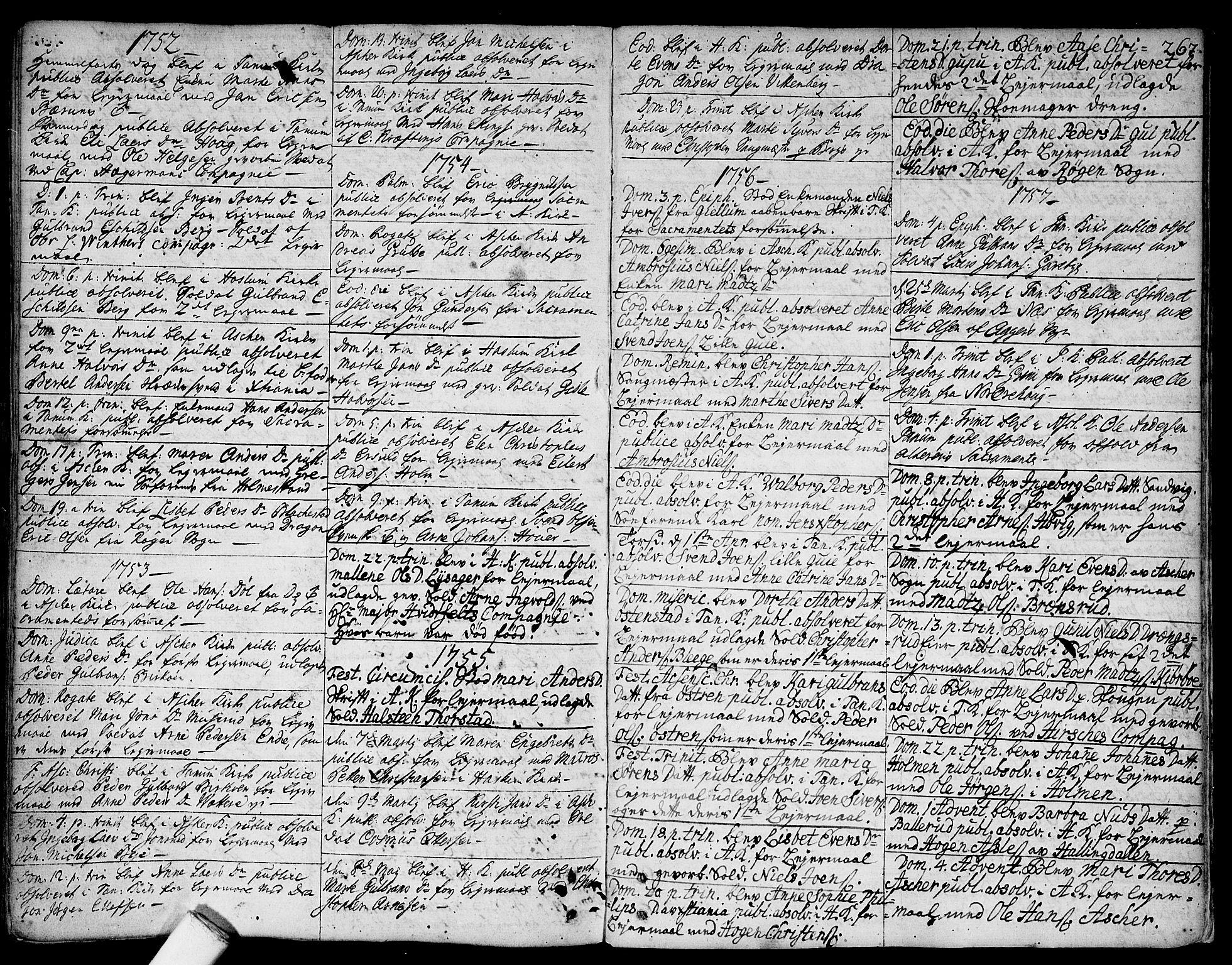 SAO, Asker prestekontor Kirkebøker, F/Fa/L0002: Ministerialbok nr. I 2, 1733-1766, s. 267