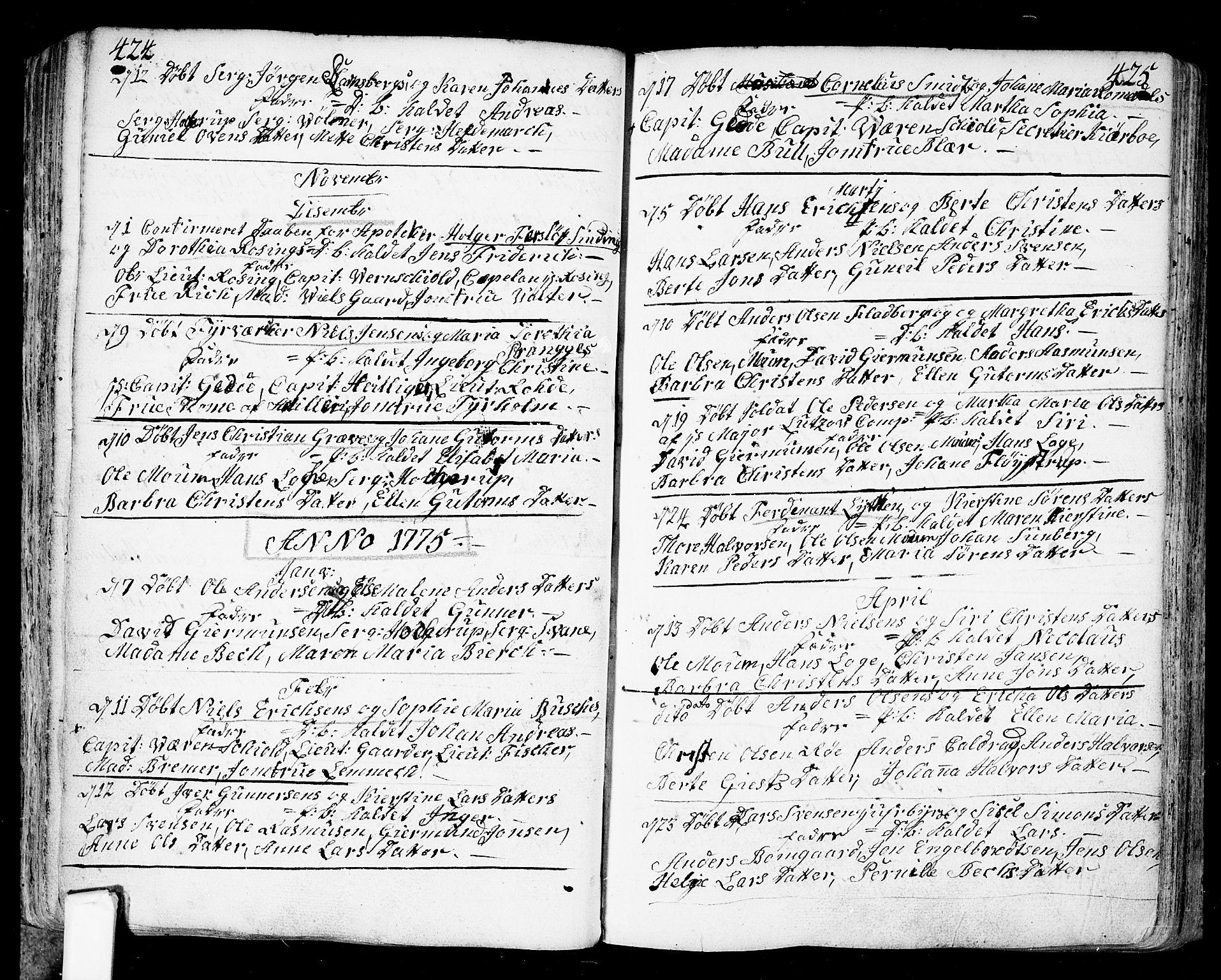 SAO, Fredrikstad prestekontor Kirkebøker, F/Fa/L0002: Ministerialbok nr. 2, 1750-1804, s. 424-425
