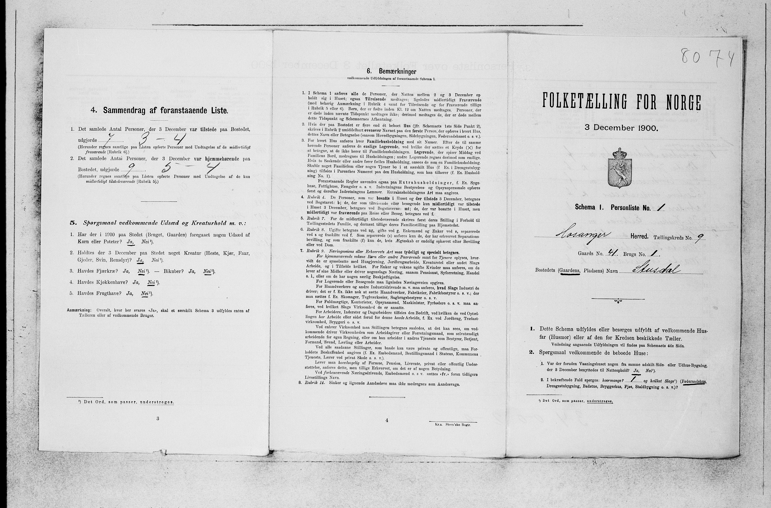 SAB, Folketelling 1900 for 1253 Hosanger herred, 1900, s. 585