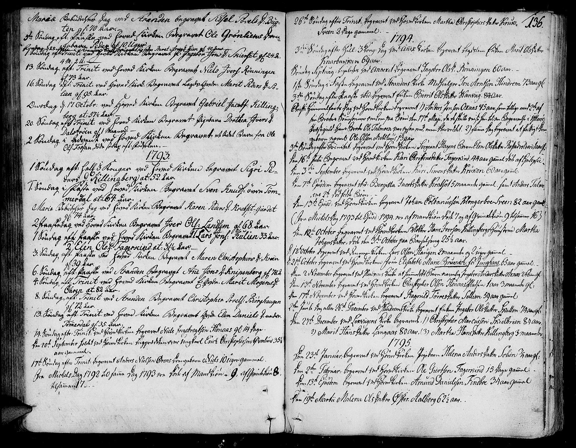 SAT, Ministerialprotokoller, klokkerbøker og fødselsregistre - Nord-Trøndelag, 701/L0004: Ministerialbok nr. 701A04, 1783-1816, s. 136