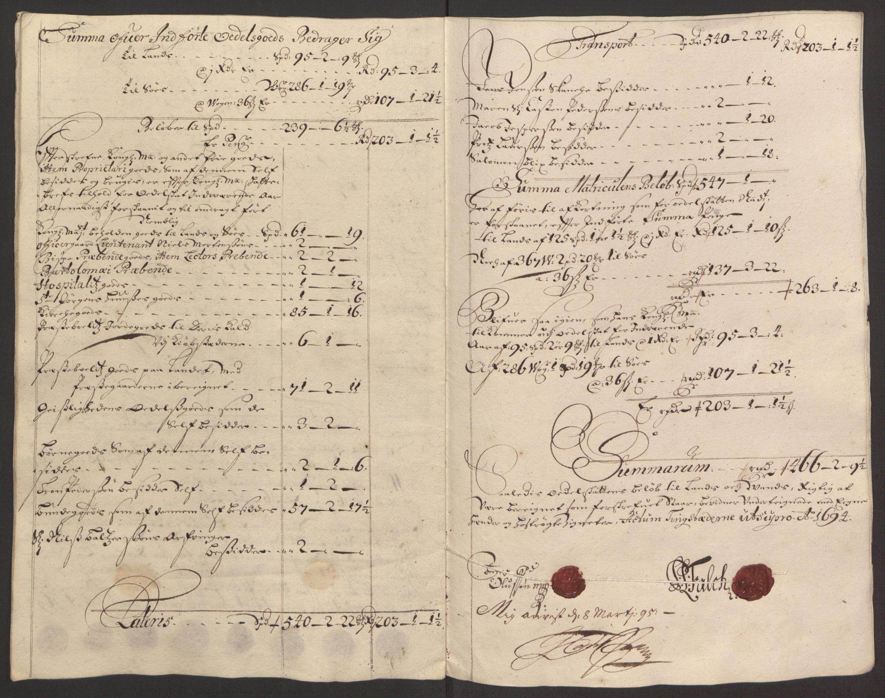 RA, Rentekammeret inntil 1814, Reviderte regnskaper, Fogderegnskap, R64/L4424: Fogderegnskap Namdal, 1692-1695, s. 350