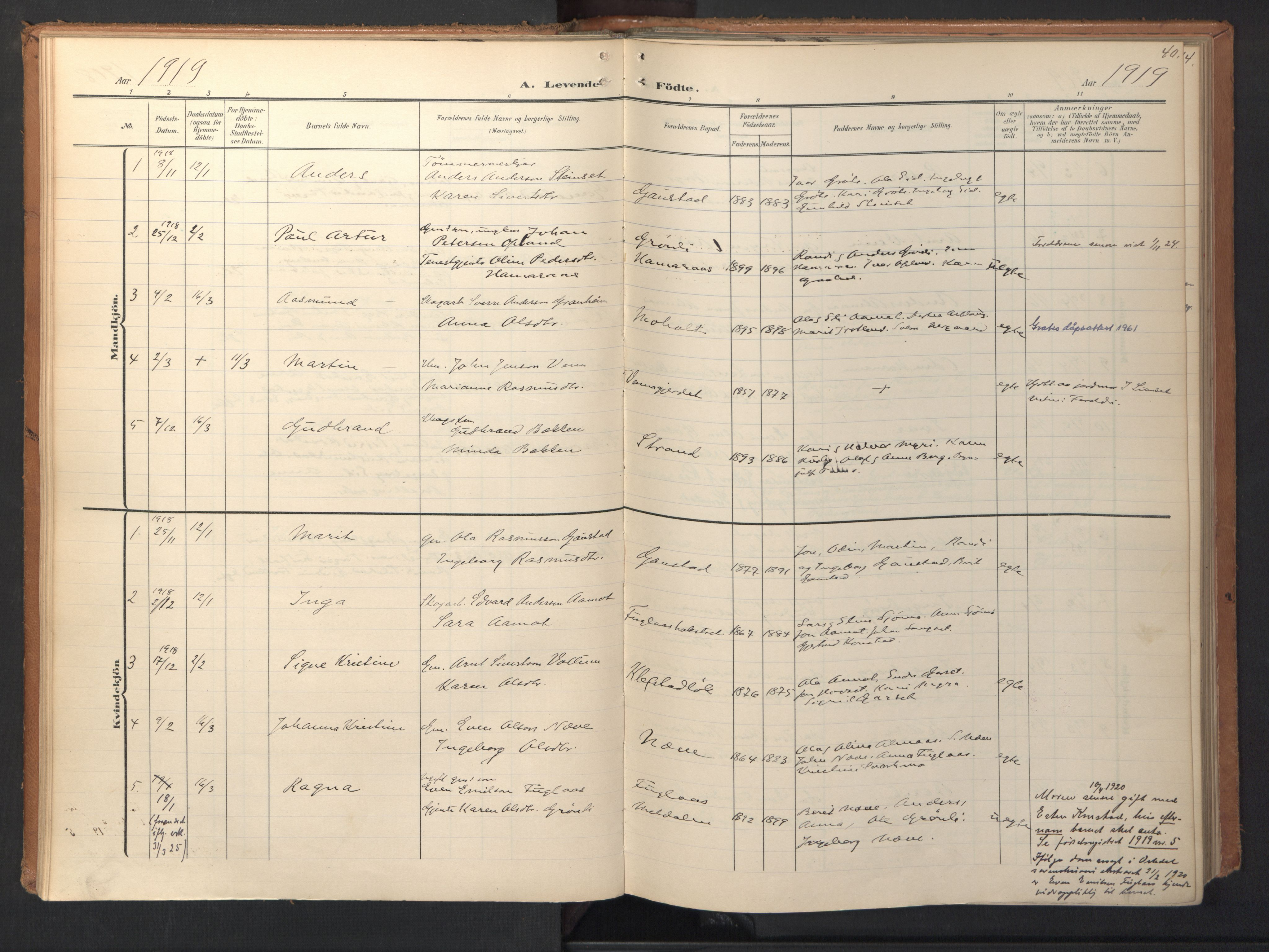 SAT, Ministerialprotokoller, klokkerbøker og fødselsregistre - Sør-Trøndelag, 694/L1128: Ministerialbok nr. 694A02, 1906-1931, s. 40