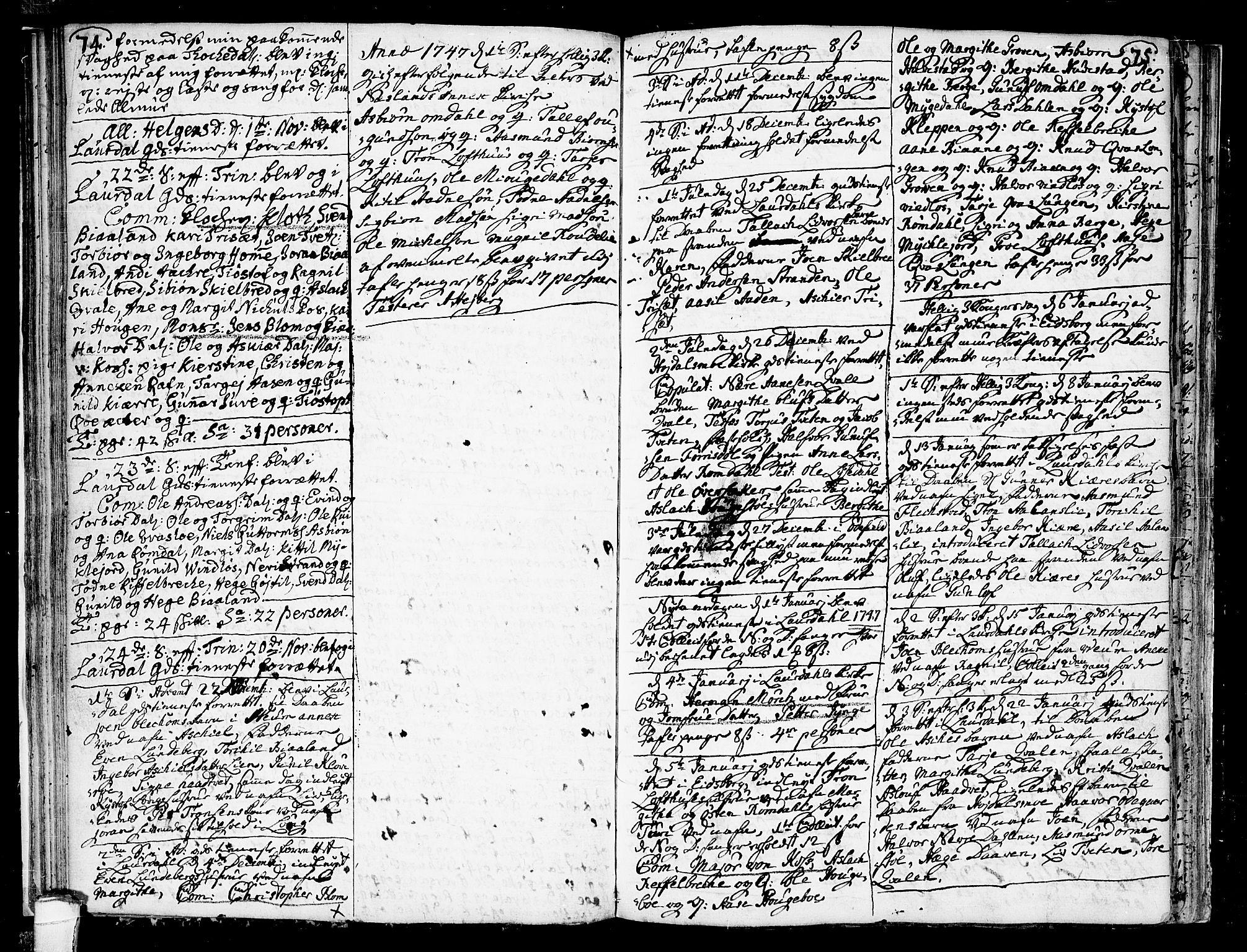SAKO, Lårdal kirkebøker, F/Fa/L0002: Ministerialbok nr. I 2, 1734-1754, s. 74-75