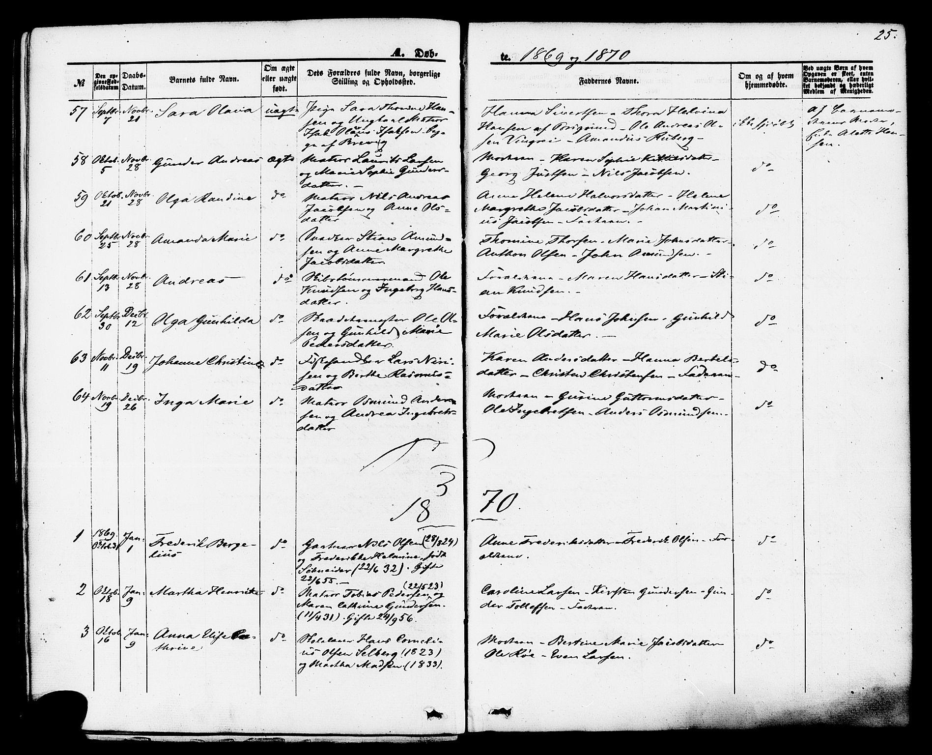 SAKO, Brevik kirkebøker, F/Fa/L0006: Ministerialbok nr. 6, 1866-1881, s. 25