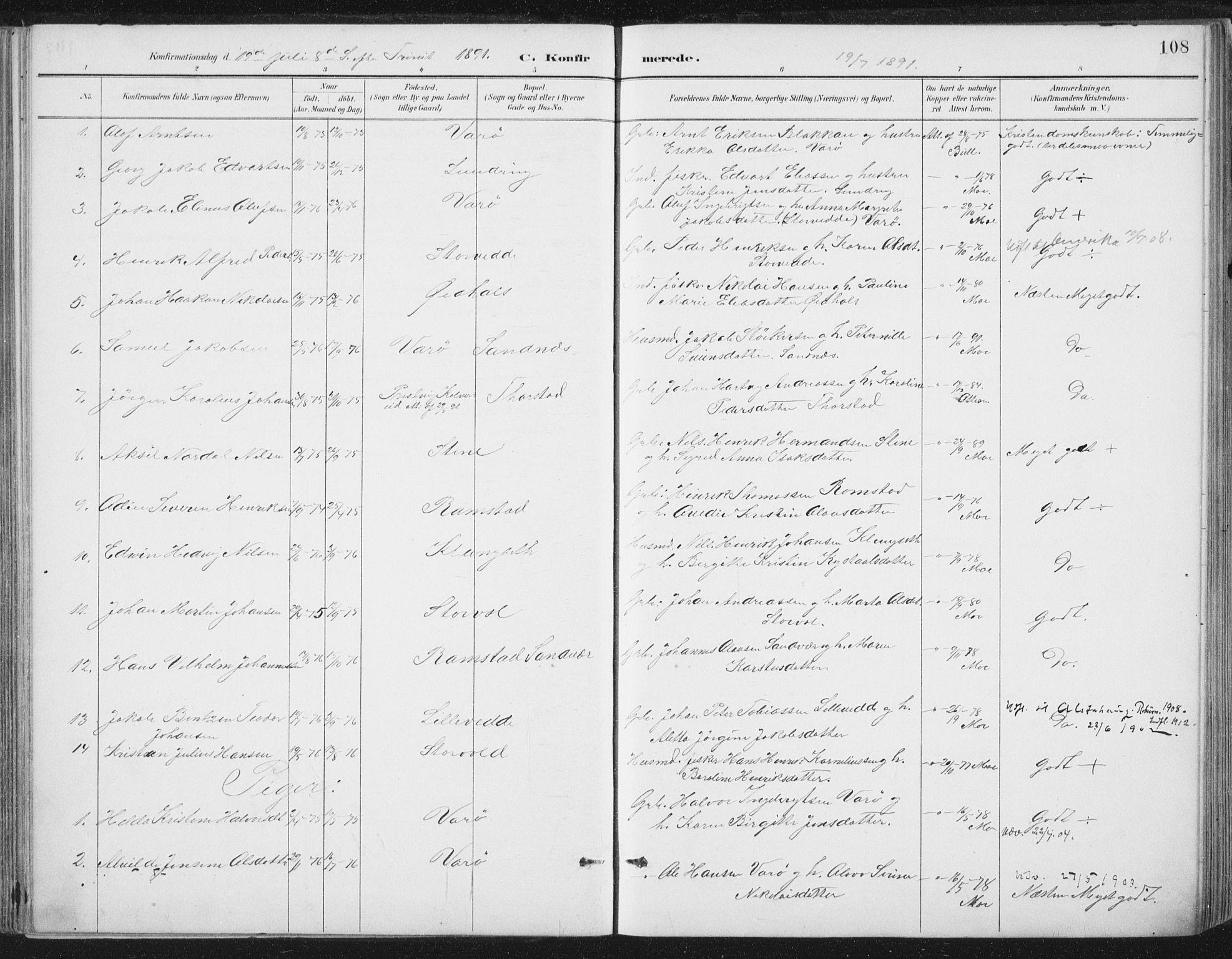 SAT, Ministerialprotokoller, klokkerbøker og fødselsregistre - Nord-Trøndelag, 784/L0673: Ministerialbok nr. 784A08, 1888-1899, s. 108