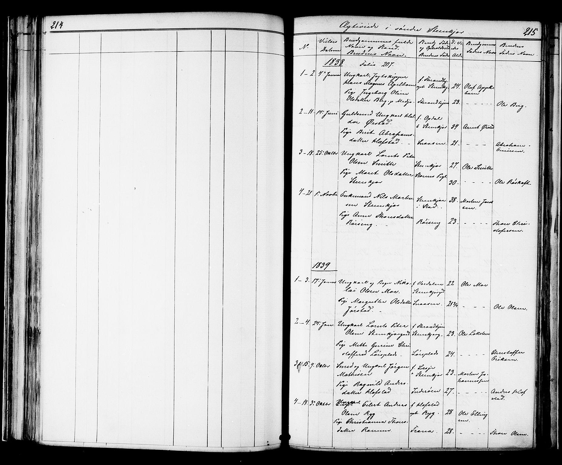 SAT, Ministerialprotokoller, klokkerbøker og fødselsregistre - Nord-Trøndelag, 739/L0367: Ministerialbok nr. 739A01 /1, 1838-1868, s. 214-215