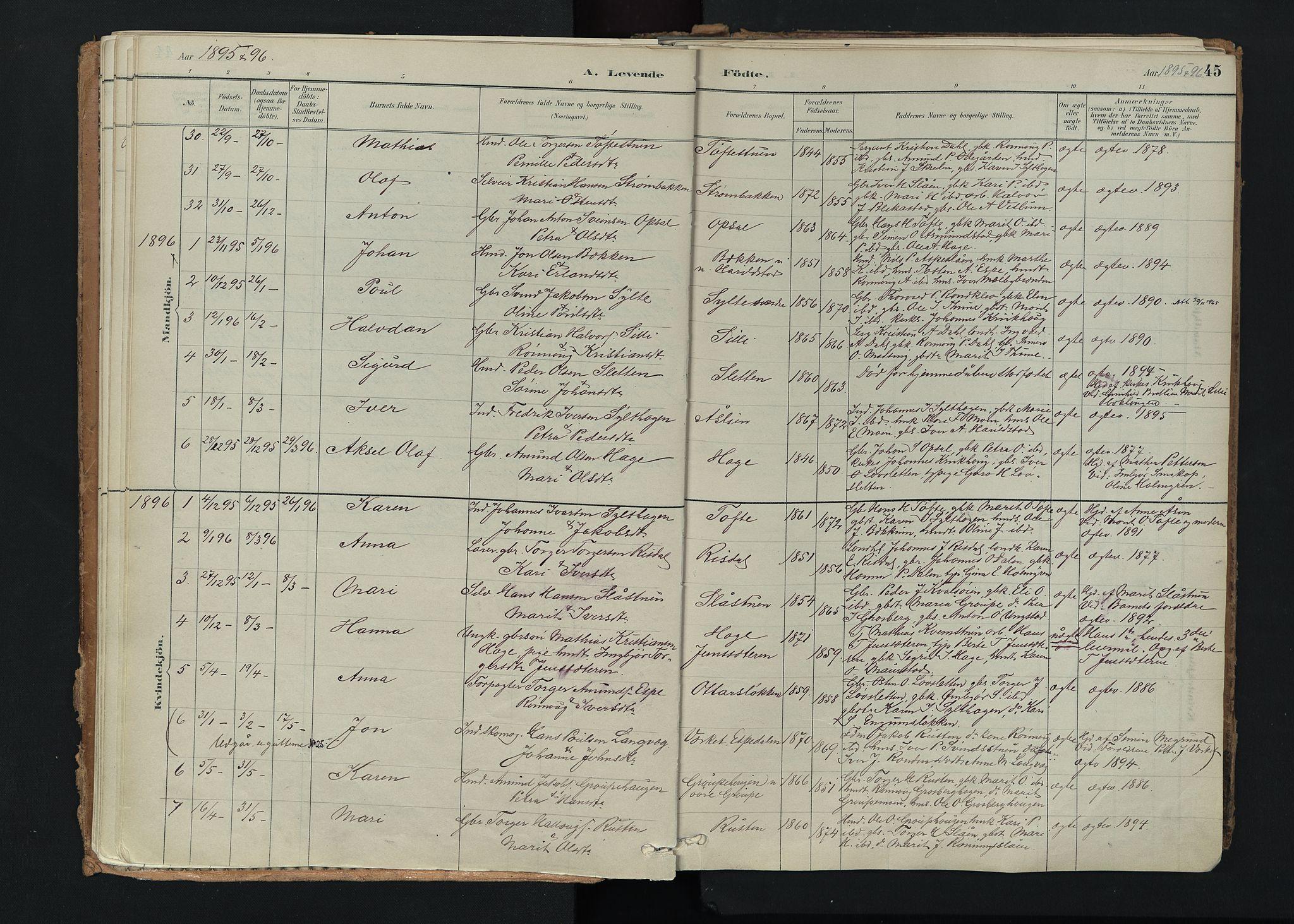 SAH, Nord-Fron prestekontor, Ministerialbok nr. 5, 1884-1914, s. 45