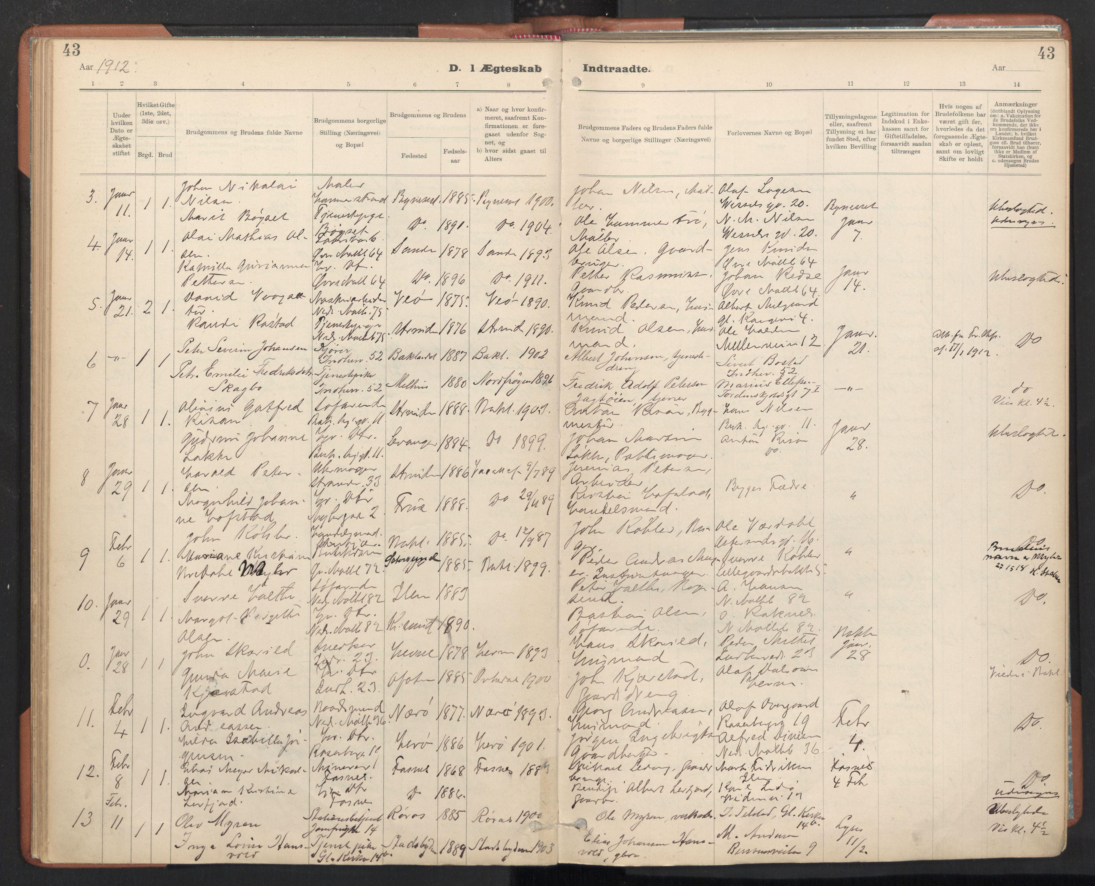 SAT, Ministerialprotokoller, klokkerbøker og fødselsregistre - Sør-Trøndelag, 605/L0244: Ministerialbok nr. 605A06, 1908-1954, s. 43