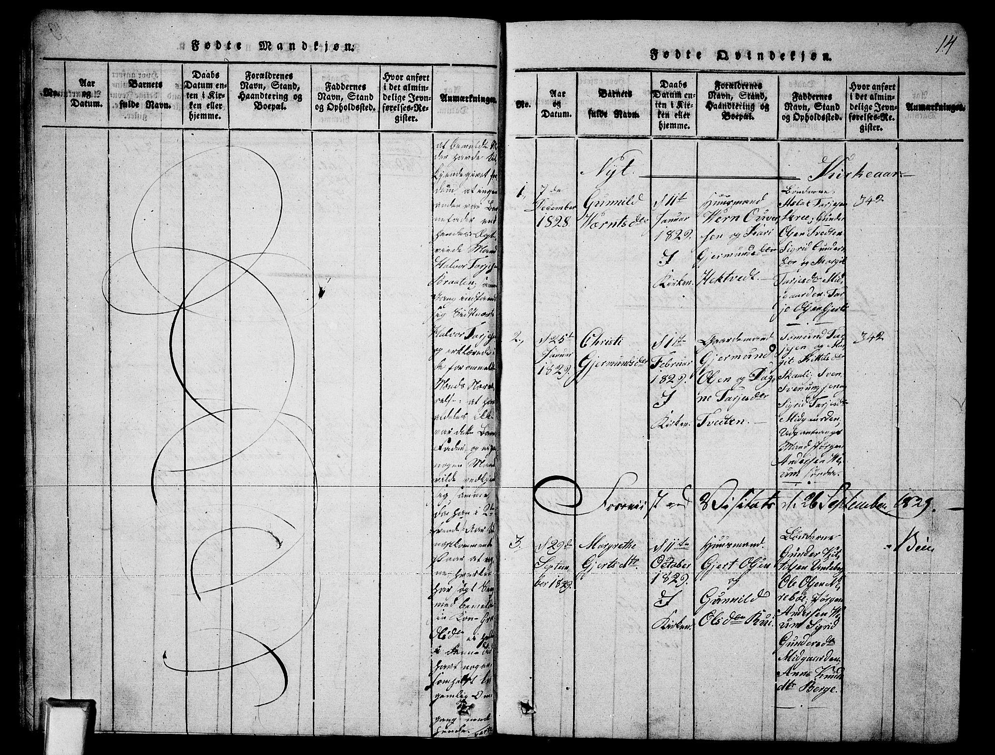 SAKO, Fyresdal kirkebøker, G/Ga/L0003: Klokkerbok nr. I 3, 1815-1863, s. 14