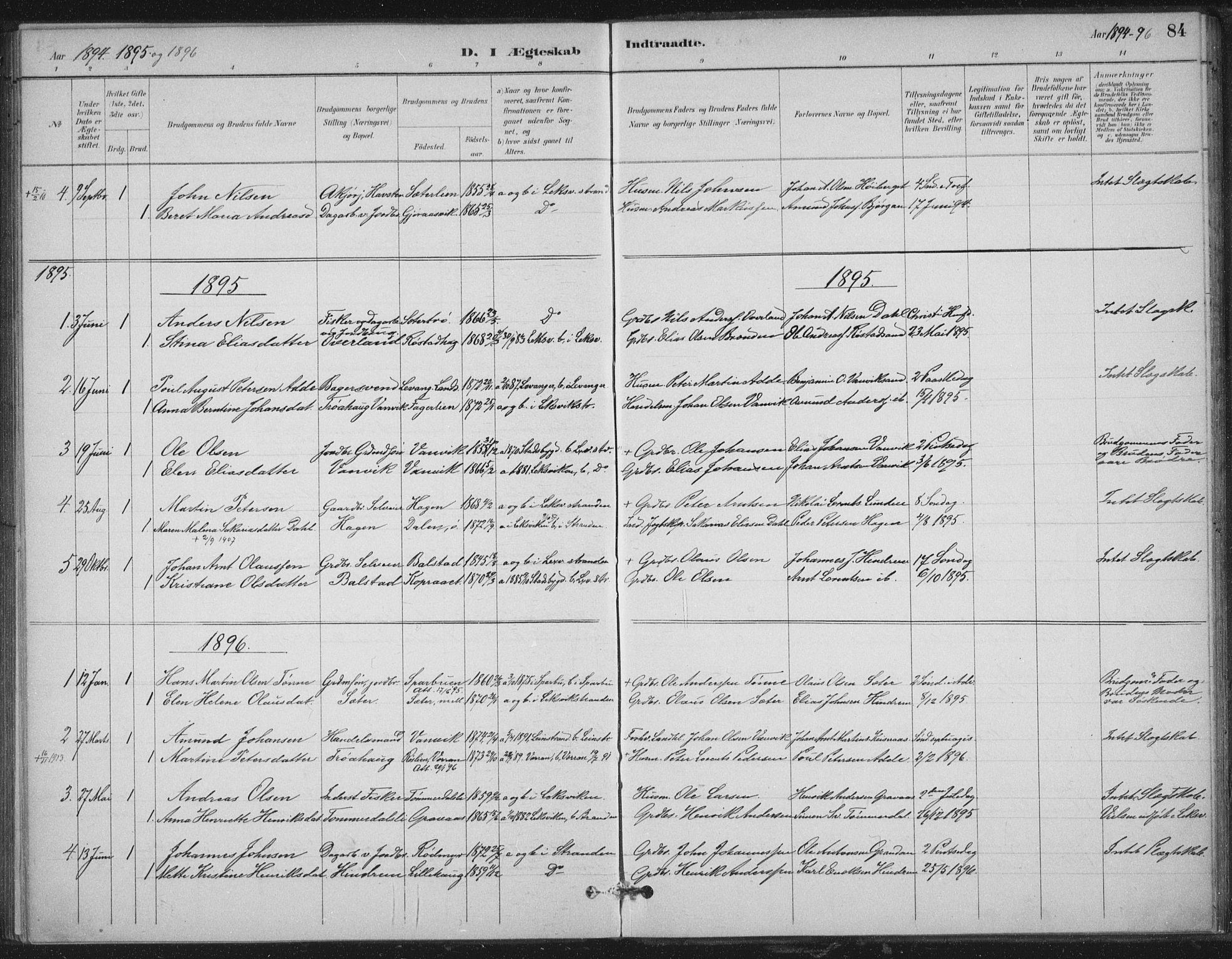 SAT, Ministerialprotokoller, klokkerbøker og fødselsregistre - Nord-Trøndelag, 702/L0023: Ministerialbok nr. 702A01, 1883-1897, s. 84