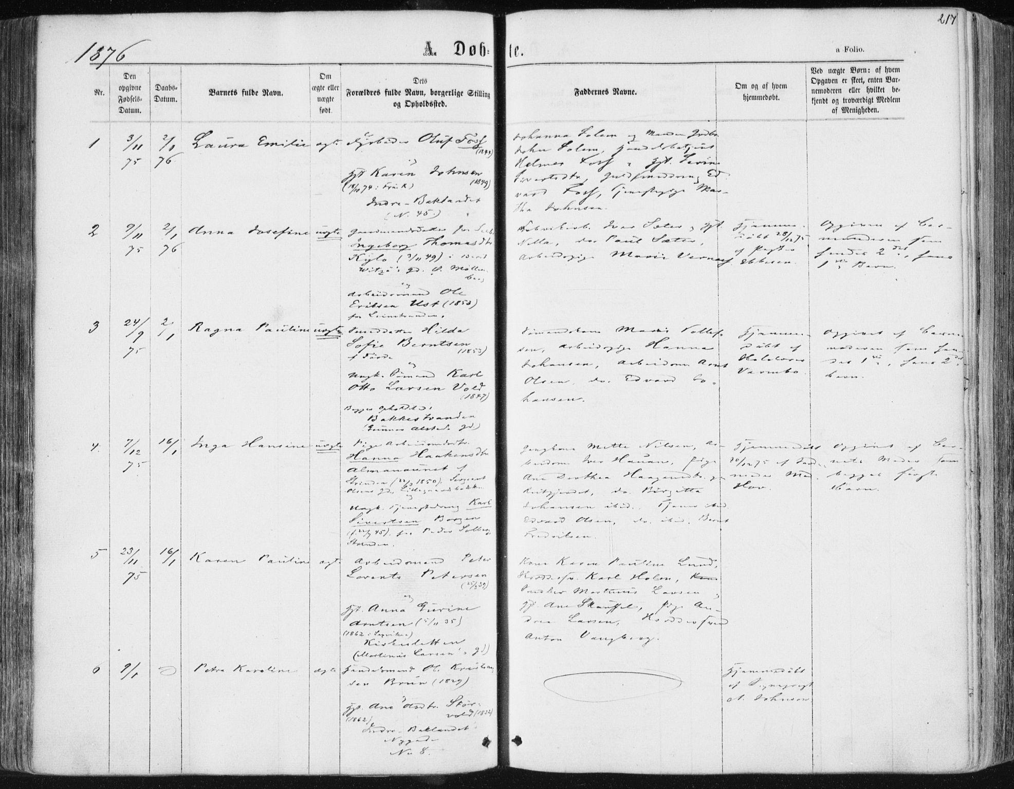 SAT, Ministerialprotokoller, klokkerbøker og fødselsregistre - Sør-Trøndelag, 604/L0186: Ministerialbok nr. 604A07, 1866-1877, s. 217