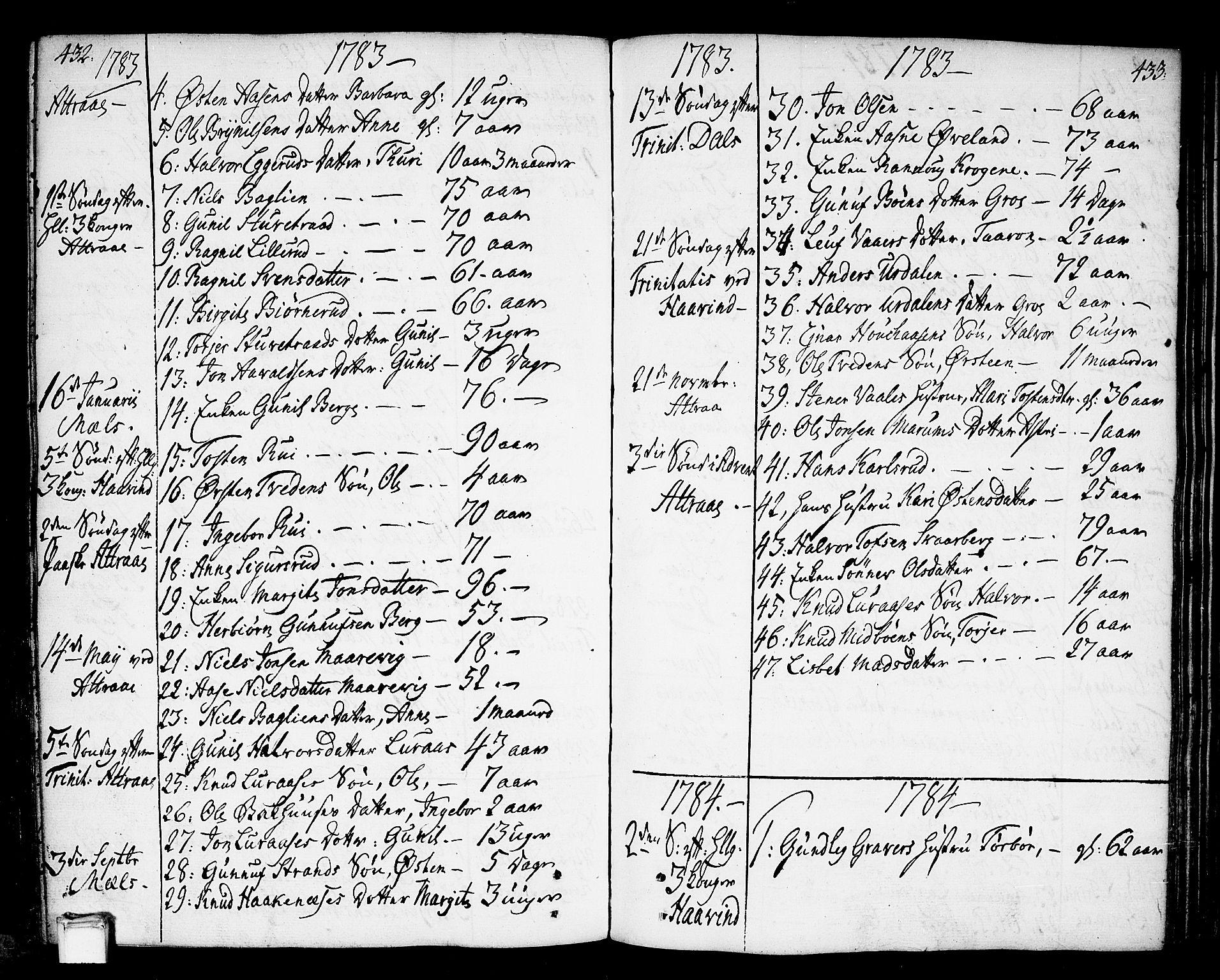 SAKO, Tinn kirkebøker, F/Fa/L0002: Ministerialbok nr. I 2, 1757-1810, s. 432-433