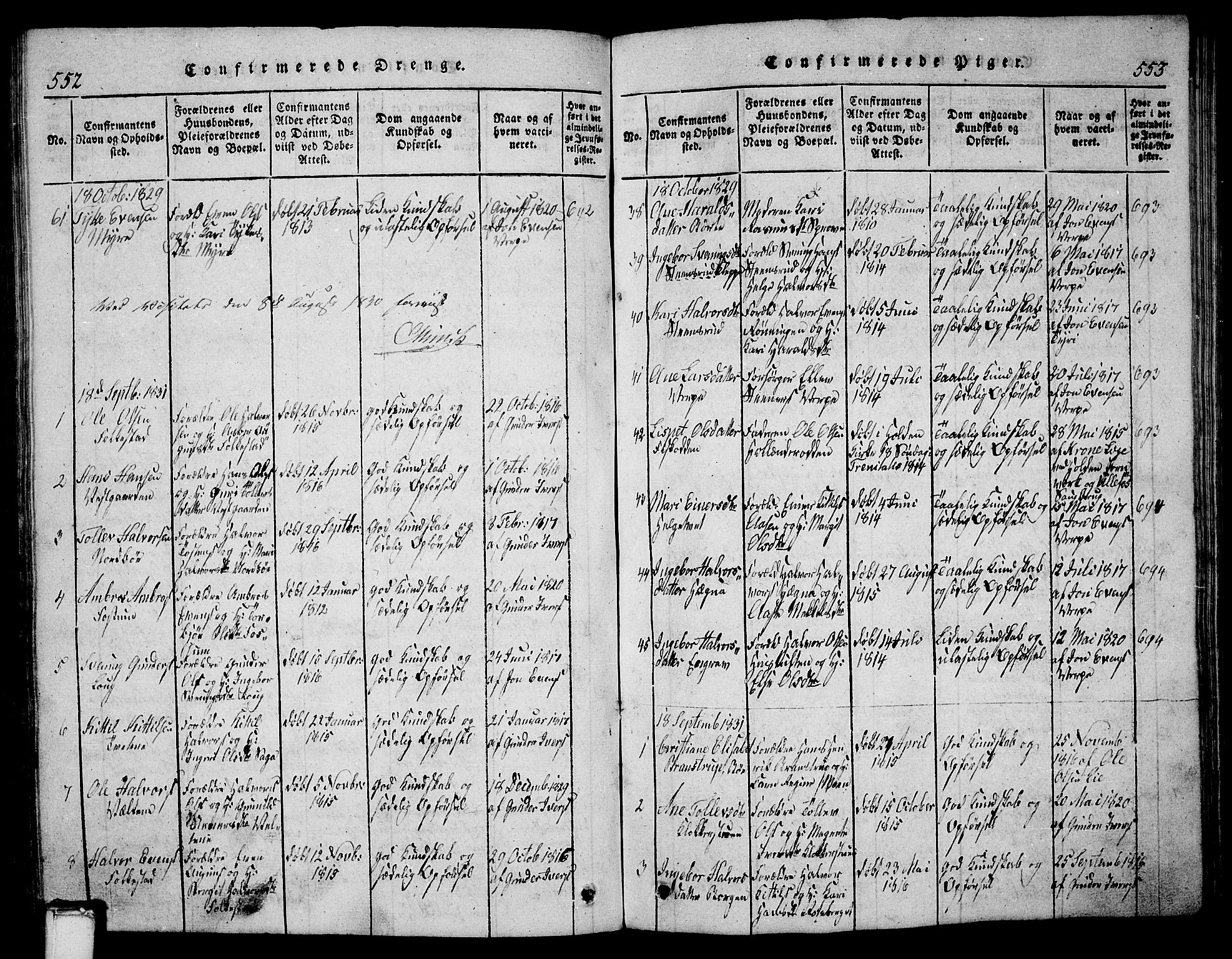 SAKO, Bø kirkebøker, G/Ga/L0001: Klokkerbok nr. 1, 1815-1831, s. 552-553