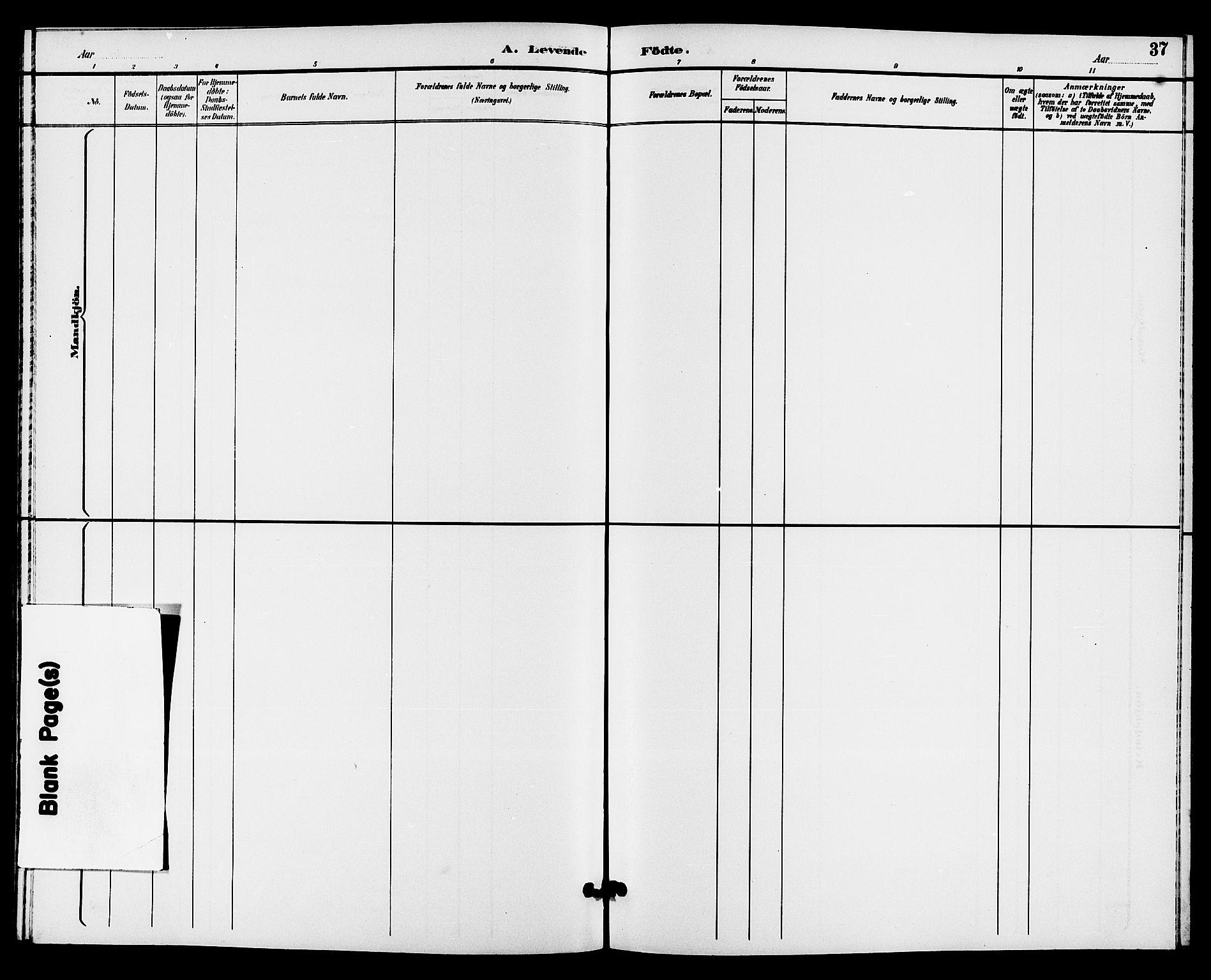 SAKO, Hjartdal kirkebøker, G/Gc/L0003: Klokkerbok nr. III 3, 1890-1907, s. 37