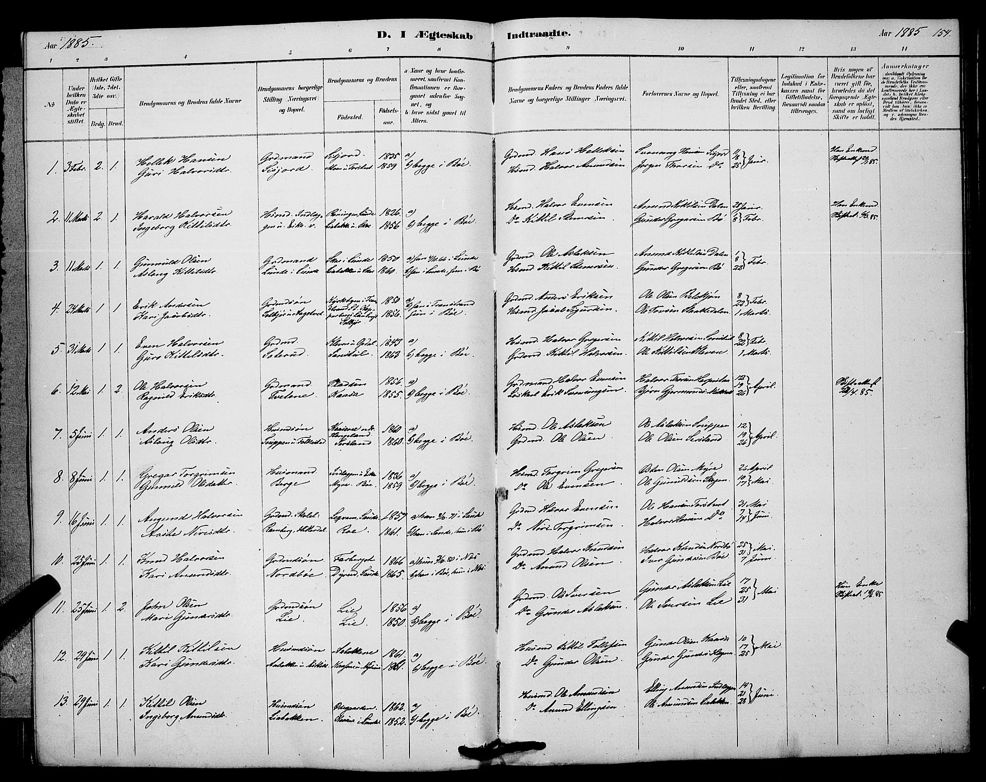SAKO, Bø kirkebøker, G/Ga/L0005: Klokkerbok nr. 5, 1883-1897, s. 154