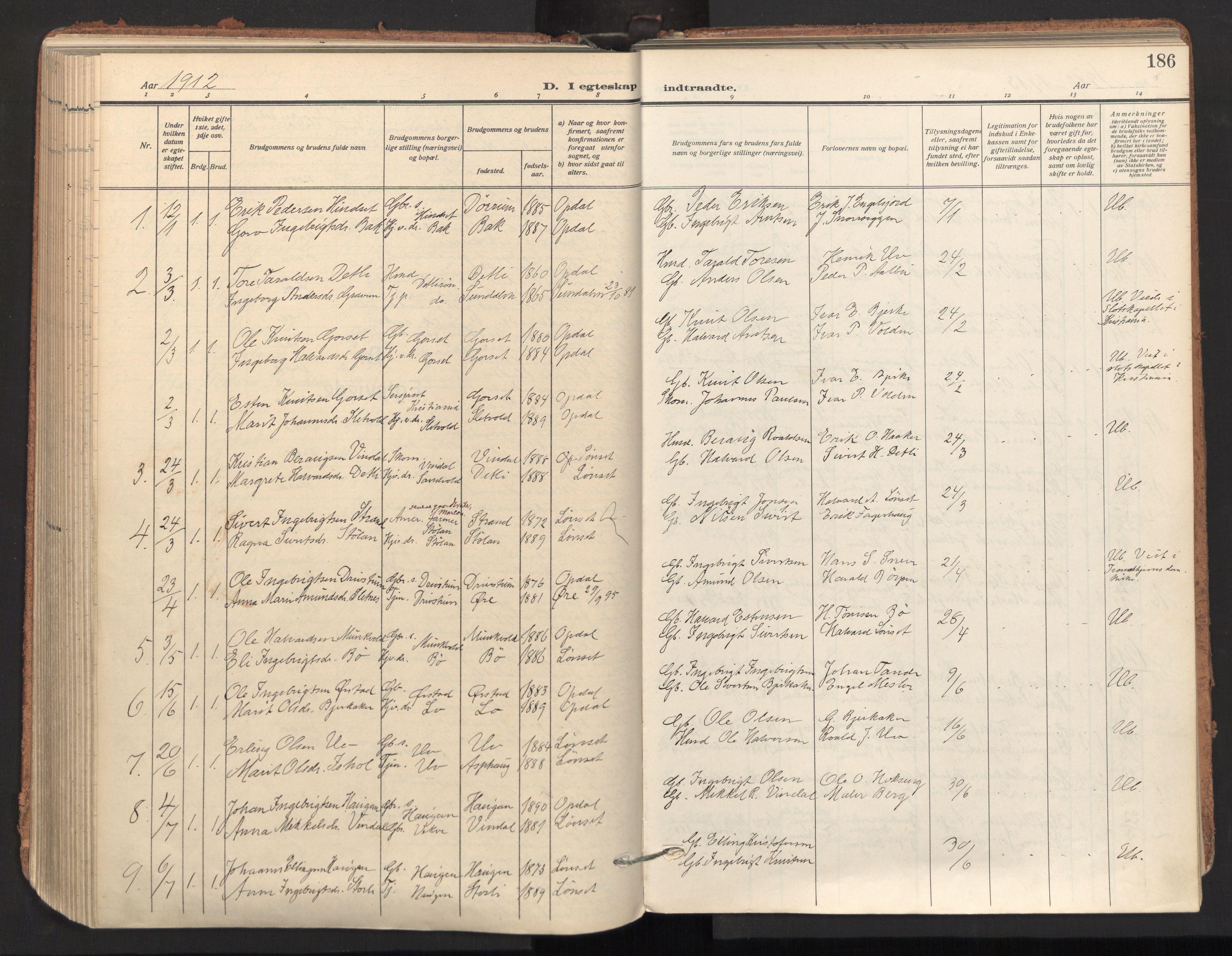 SAT, Ministerialprotokoller, klokkerbøker og fødselsregistre - Sør-Trøndelag, 678/L0909: Ministerialbok nr. 678A17, 1912-1930, s. 186