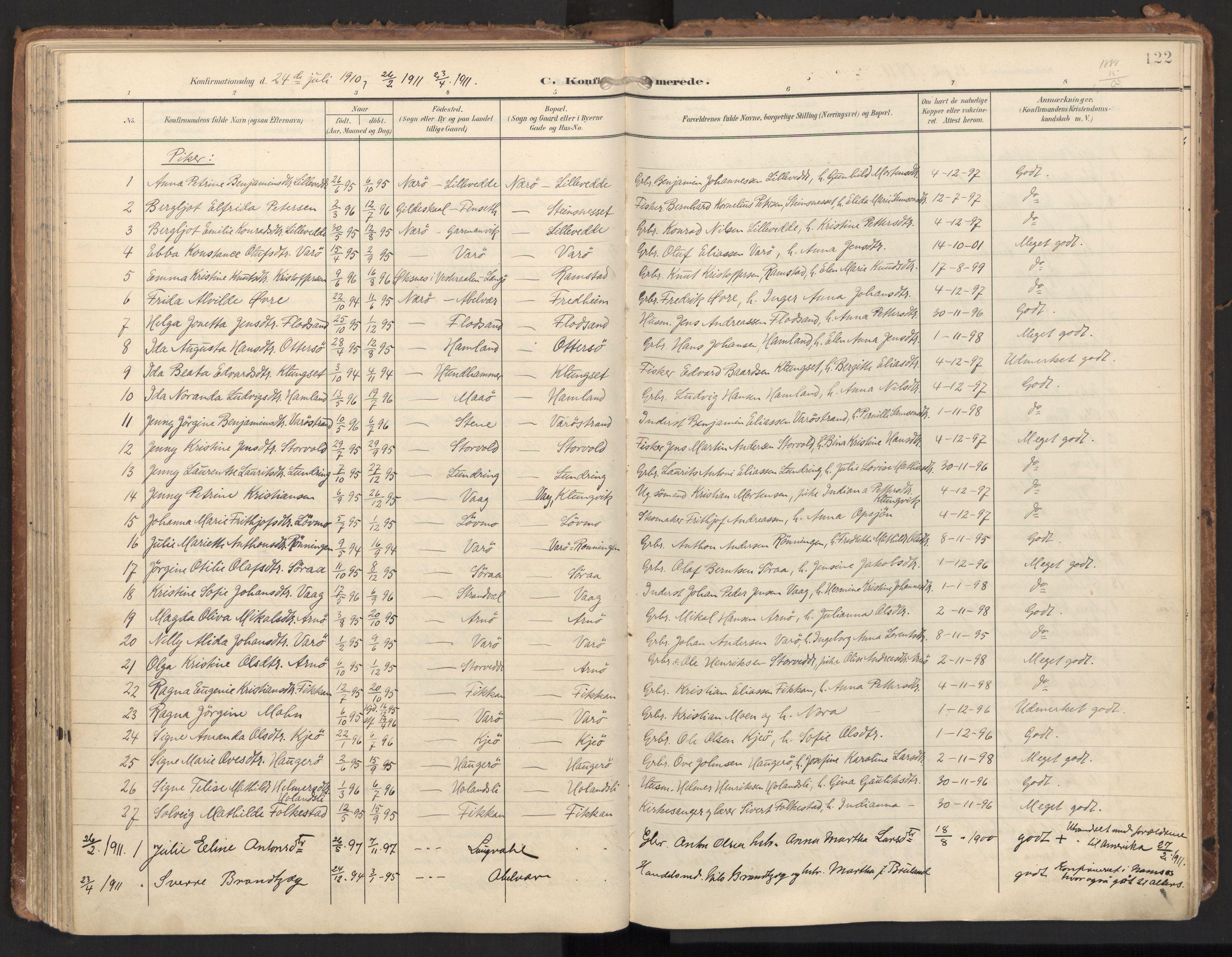 SAT, Ministerialprotokoller, klokkerbøker og fødselsregistre - Nord-Trøndelag, 784/L0677: Ministerialbok nr. 784A12, 1900-1920, s. 122