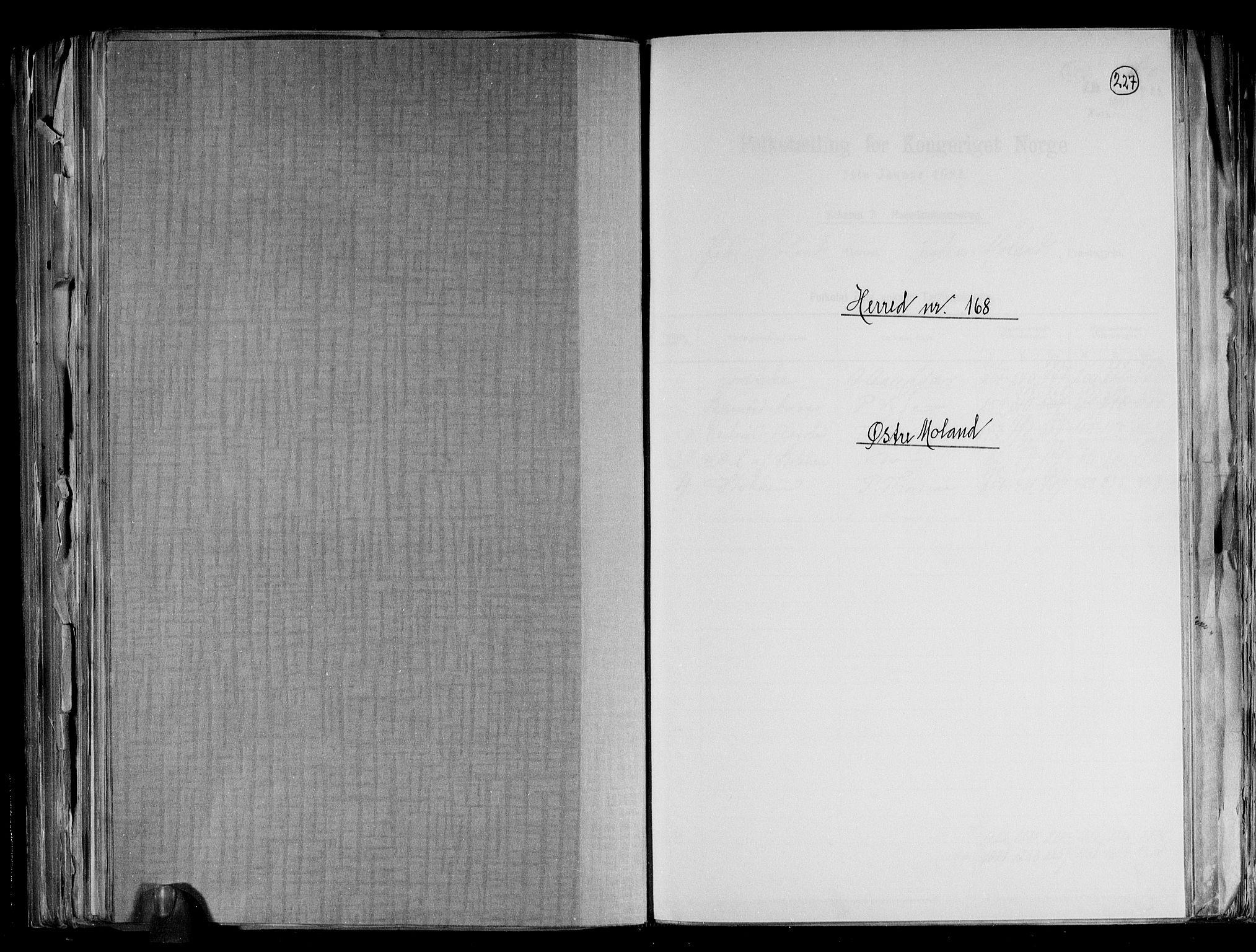RA, Folketelling 1891 for 0918 Austre Moland herred, 1891, s. 1