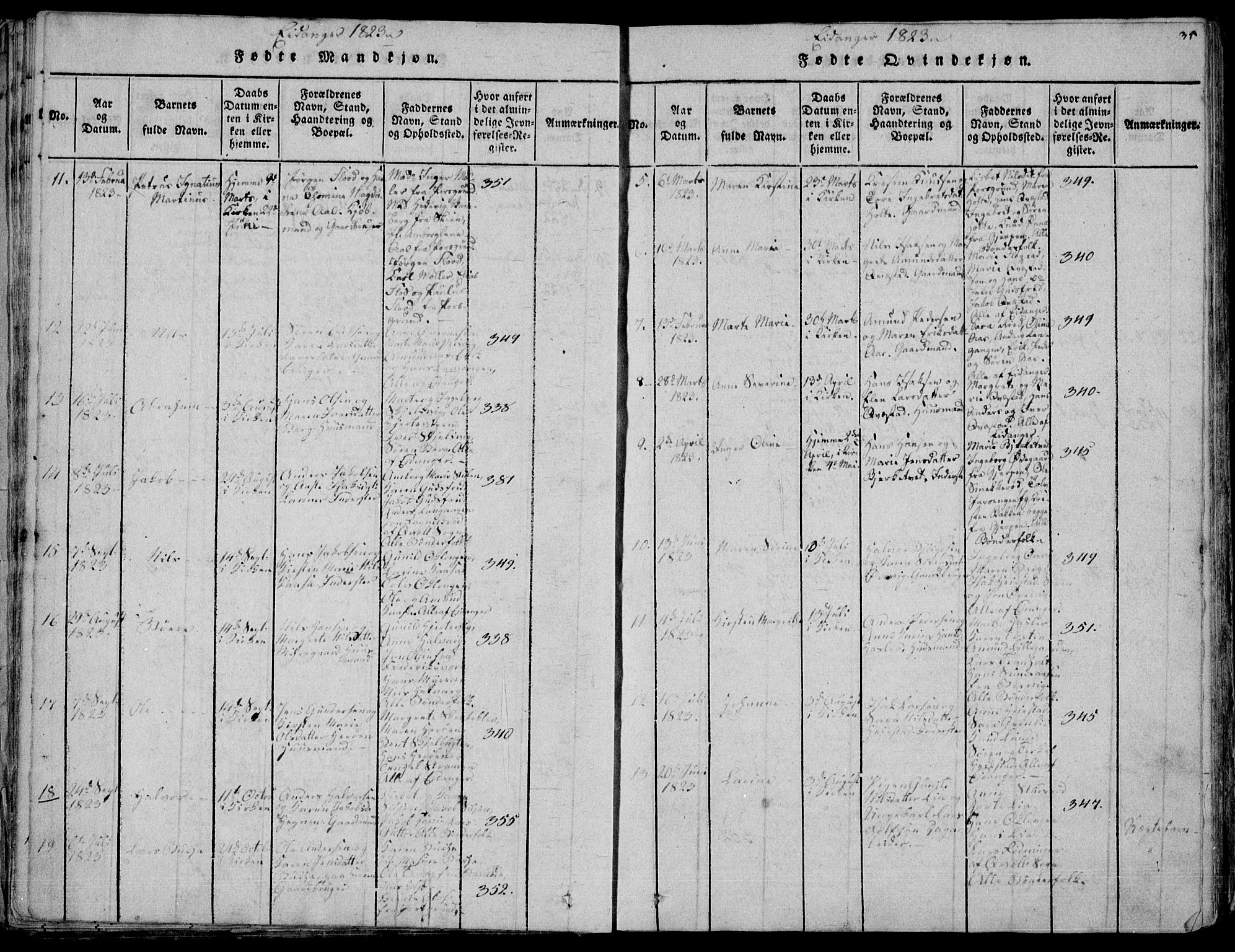 SAKO, Eidanger kirkebøker, F/Fa/L0007: Ministerialbok nr. 7, 1814-1831, s. 35