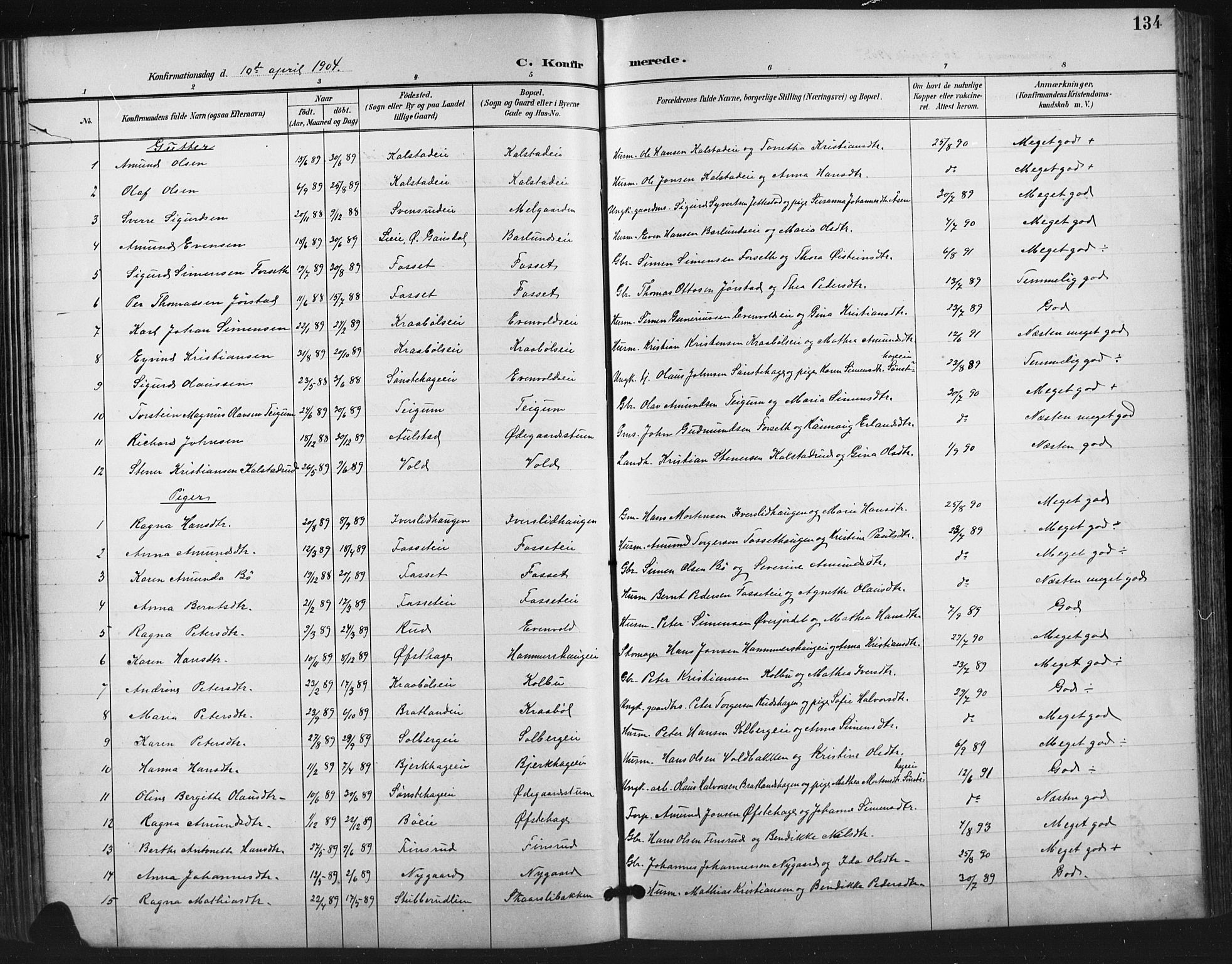 SAH, Vestre Gausdal prestekontor, Klokkerbok nr. 3, 1896-1925, s. 134