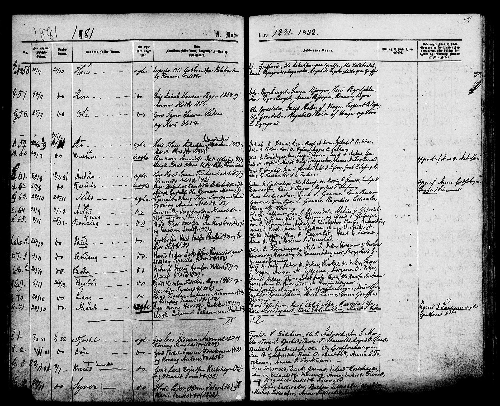 SAH, Lom prestekontor, K/L0007: Ministerialbok nr. 7, 1863-1884, s. 99