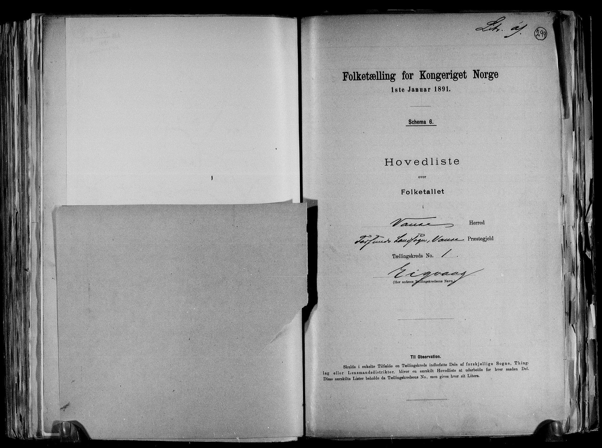 RA, Folketelling 1891 for 1041 Vanse herred, 1891, s. 6