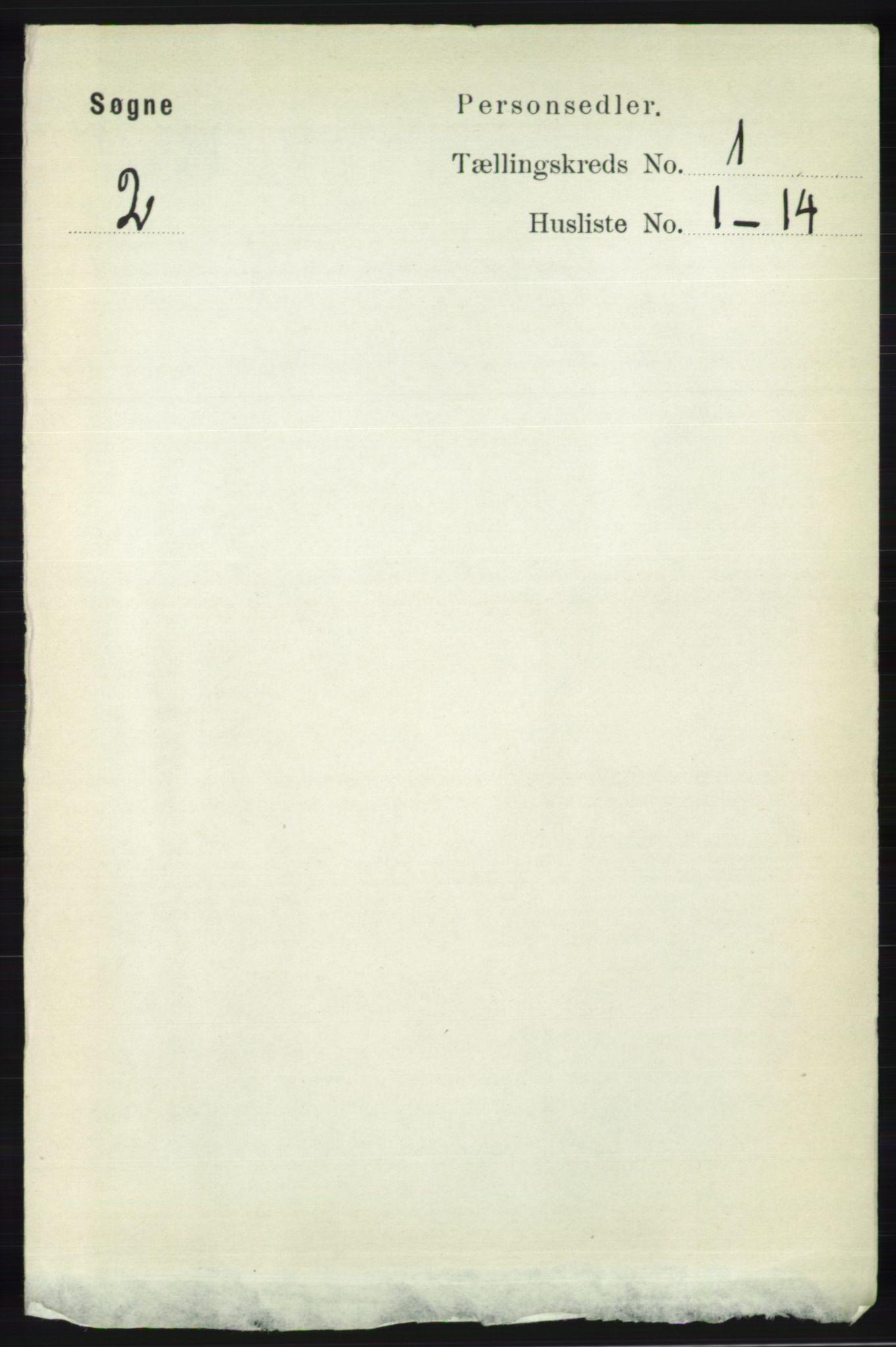 RA, Folketelling 1891 for 1018 Søgne herred, 1891, s. 63