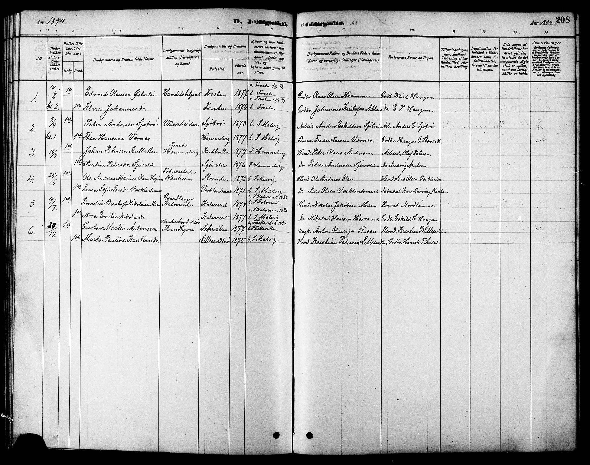 SAT, Ministerialprotokoller, klokkerbøker og fødselsregistre - Sør-Trøndelag, 616/L0423: Klokkerbok nr. 616C06, 1878-1903, s. 208