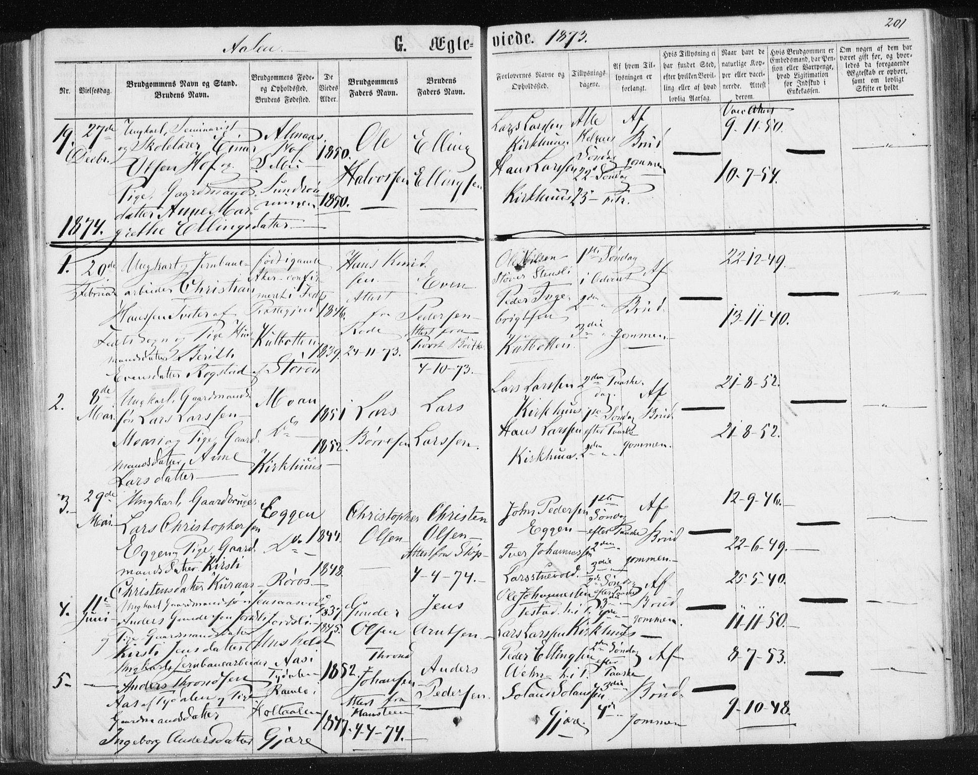 SAT, Ministerialprotokoller, klokkerbøker og fødselsregistre - Sør-Trøndelag, 685/L0971: Ministerialbok nr. 685A08 /3, 1870-1879, s. 201