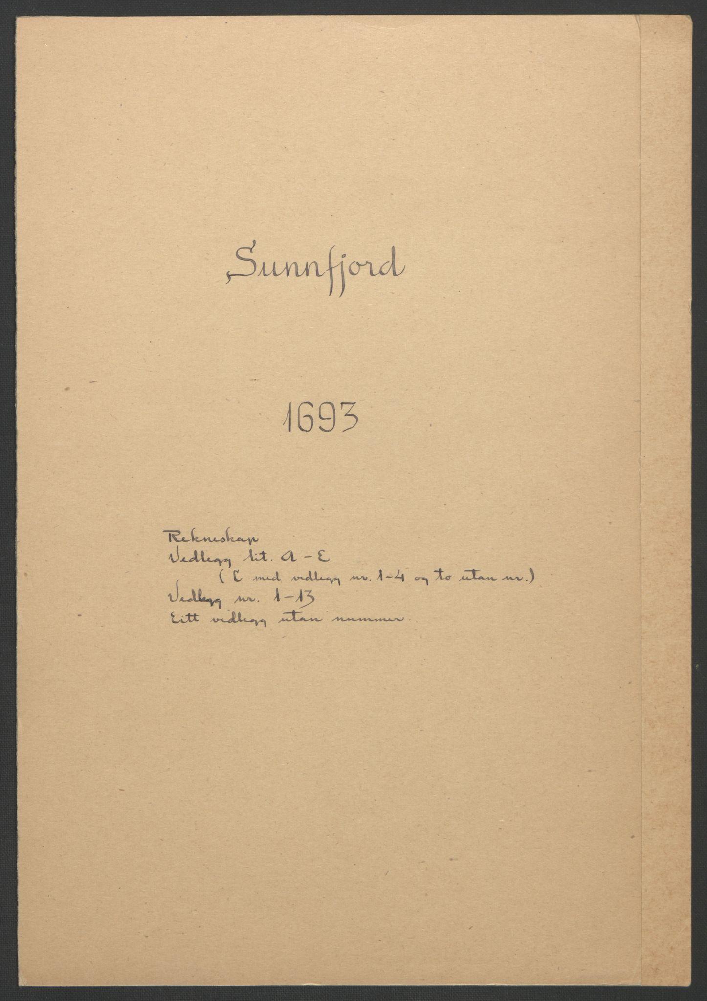 RA, Rentekammeret inntil 1814, Reviderte regnskaper, Fogderegnskap, R53/L3421: Fogderegnskap Sunn- og Nordfjord, 1693-1694, s. 3