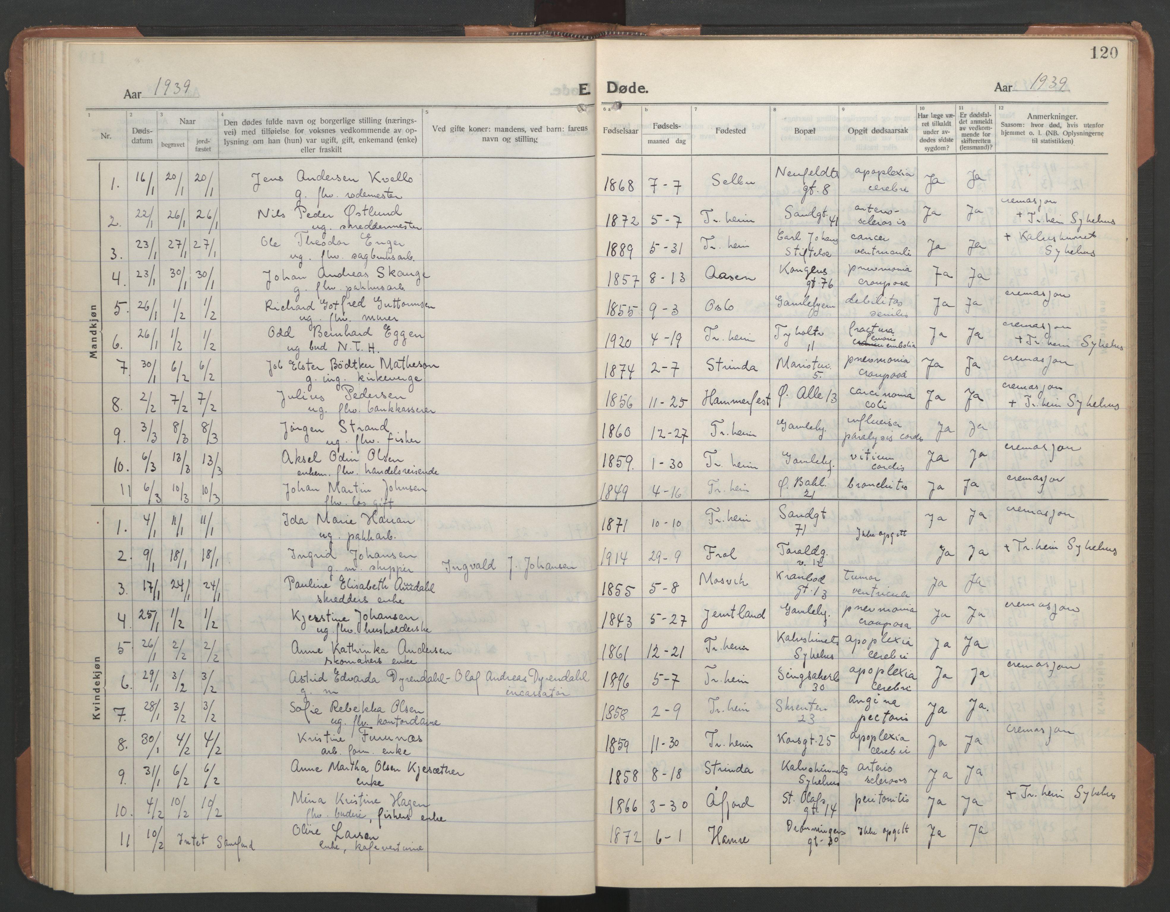 SAT, Ministerialprotokoller, klokkerbøker og fødselsregistre - Sør-Trøndelag, 602/L0150: Klokkerbok nr. 602C18, 1922-1949, s. 120