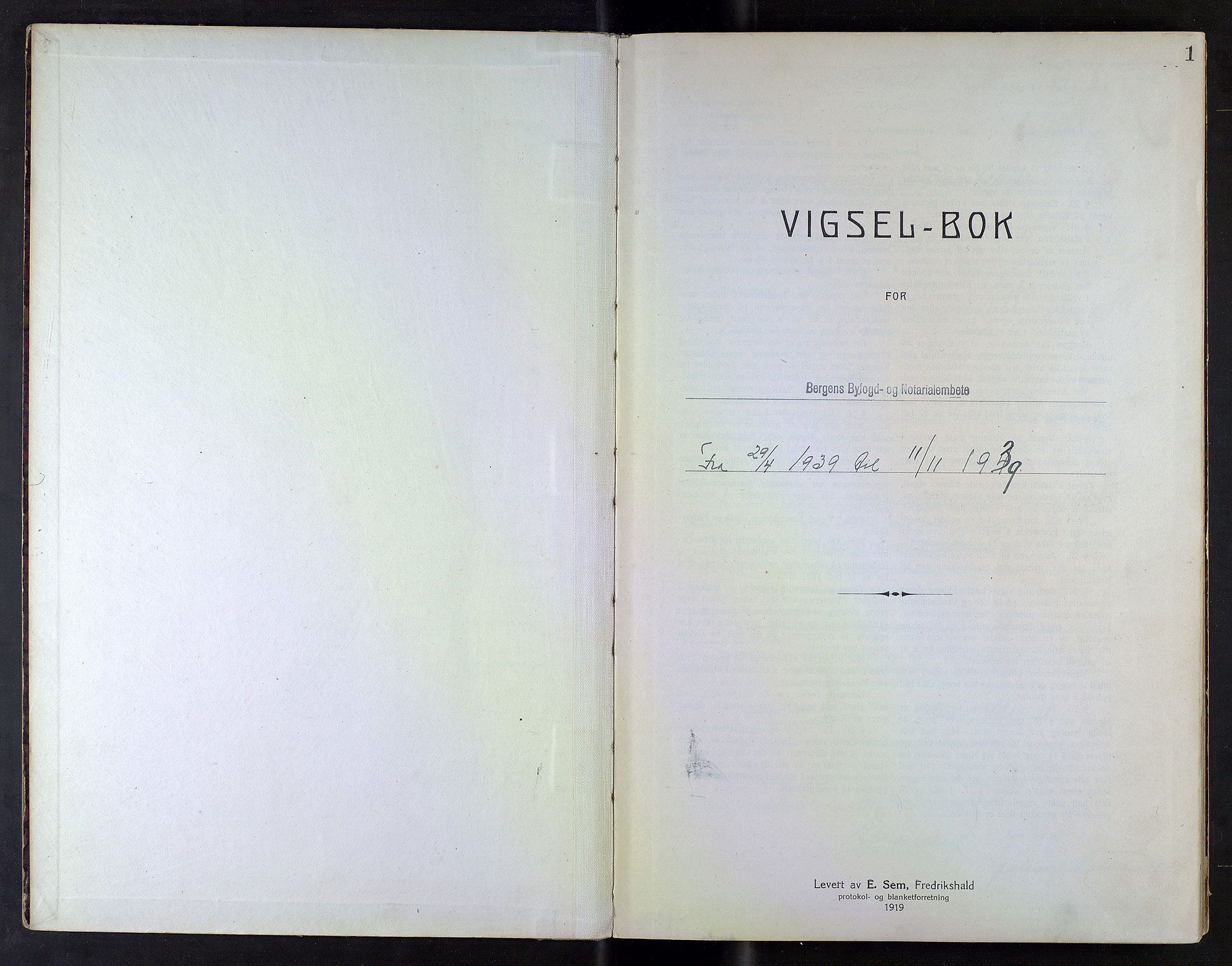 SAB, Bergen byfogd og byskriver*, 1939, s. 1a